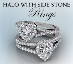 Halo With Side Stone Engagement Ring