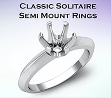 classic solitare semi mount rings