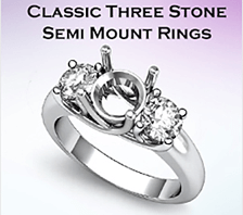 classic three stone semi mount rings