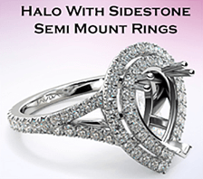 halo with sidestone semi mount rings