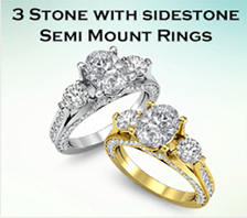 3 stone with sidestone semi mount rings