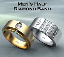 mens half diamond band