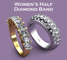 womens half diamond band