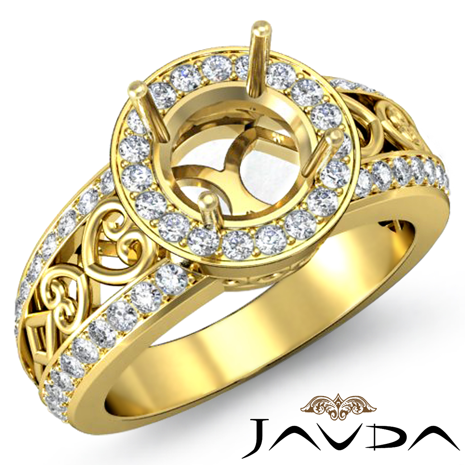 Diamond Engagement Antique Ring Halo Set 18k Yellow Gold ...