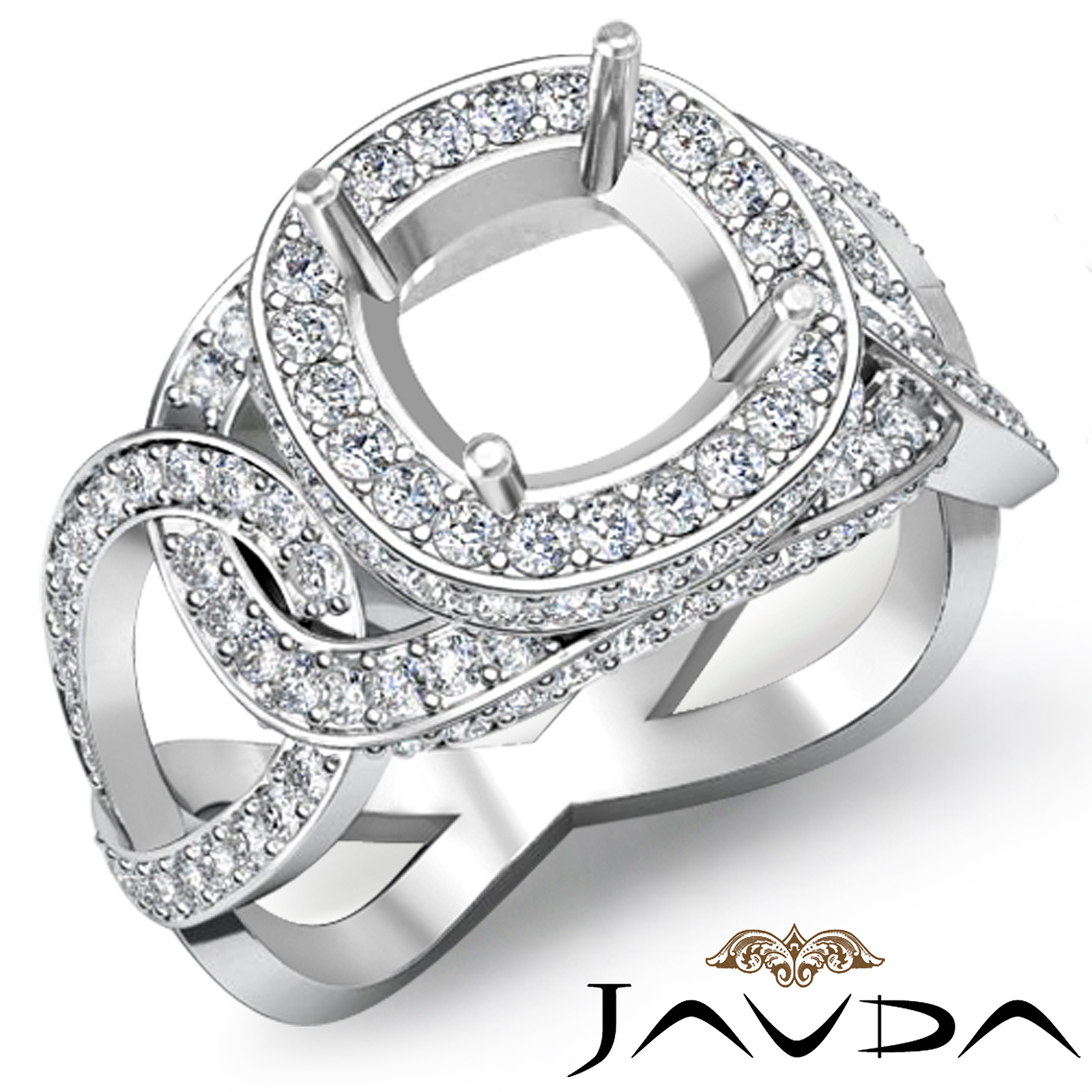1.8ct Round Antique Diamond Engagement Ring Setting Wg