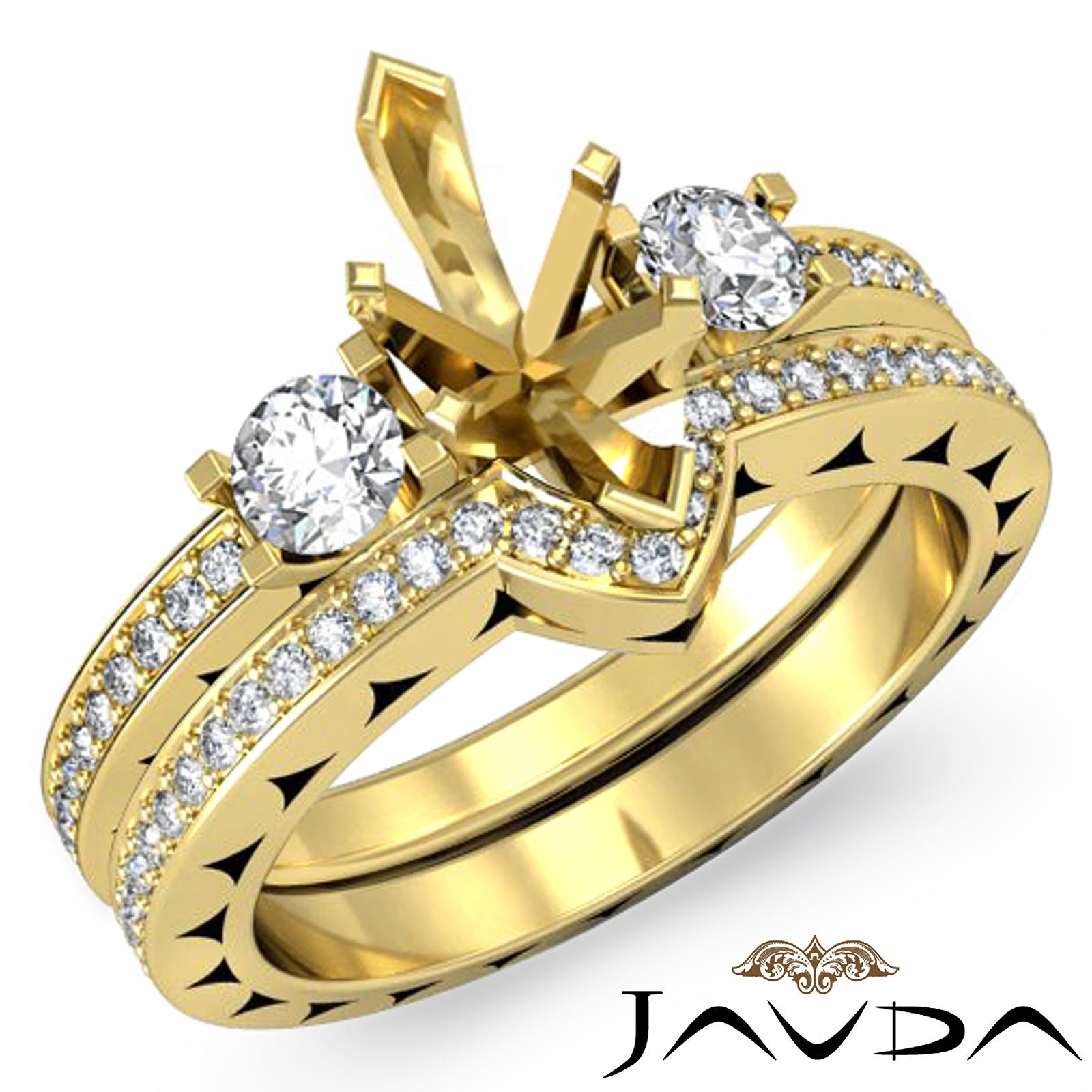 Diamond Wedding Ring Marquise Bridal Set 18k Yellow Gold 3Stone Semi Mount 1