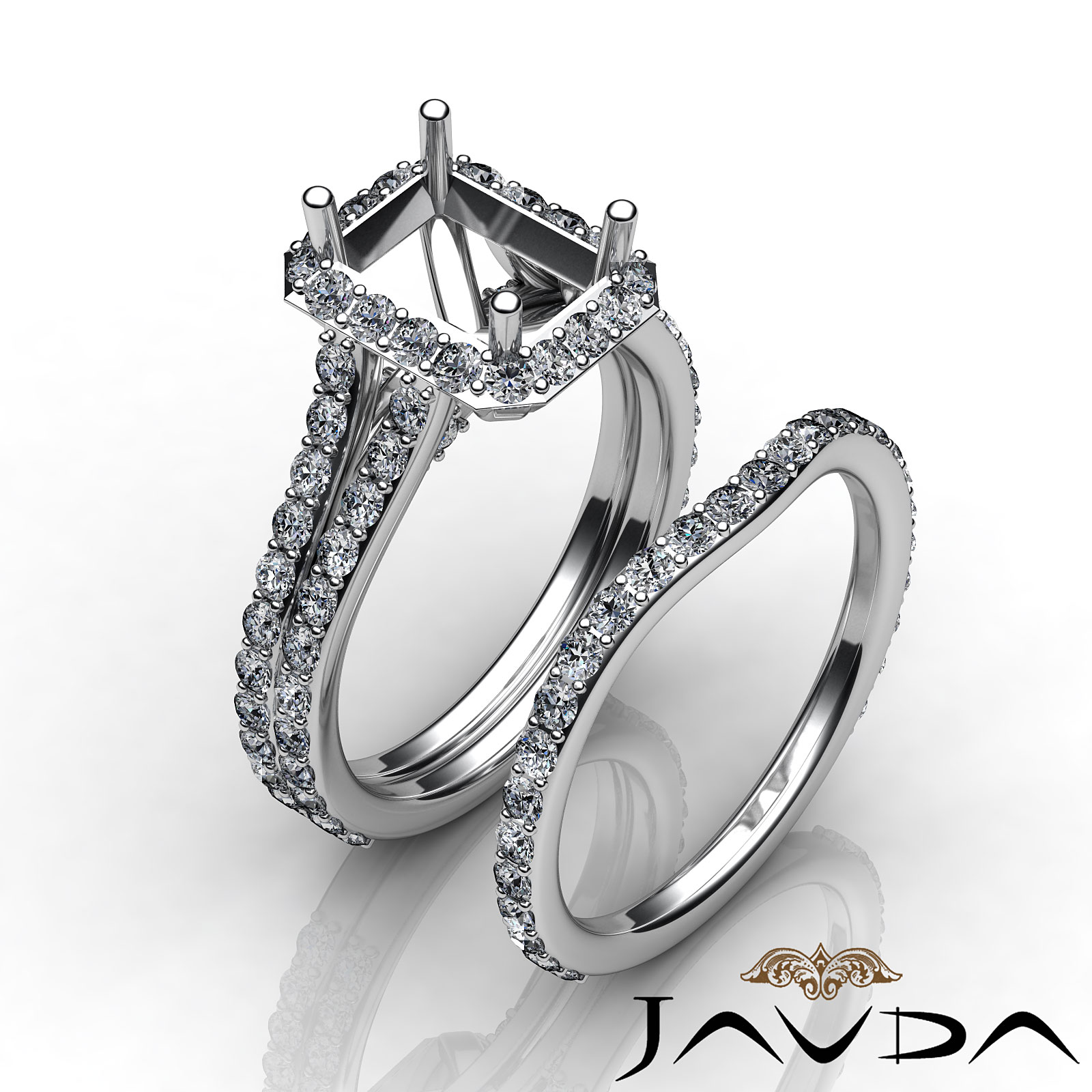 Radiant Diamond Semi Mount Engagement Wedding Ring Bridal