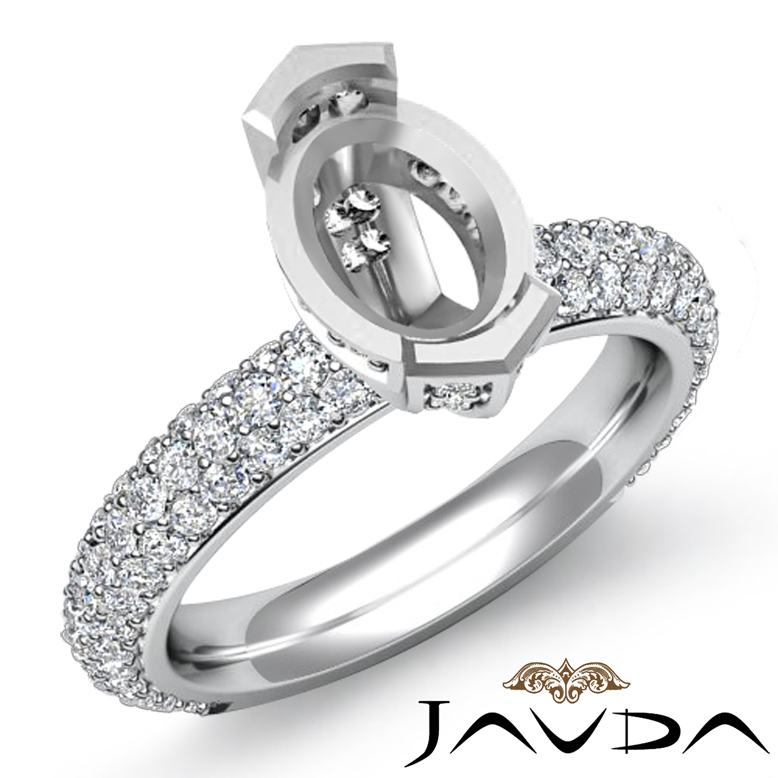 1 40ct Oval Pave Diamond Engagement Women Ring Setting 14k