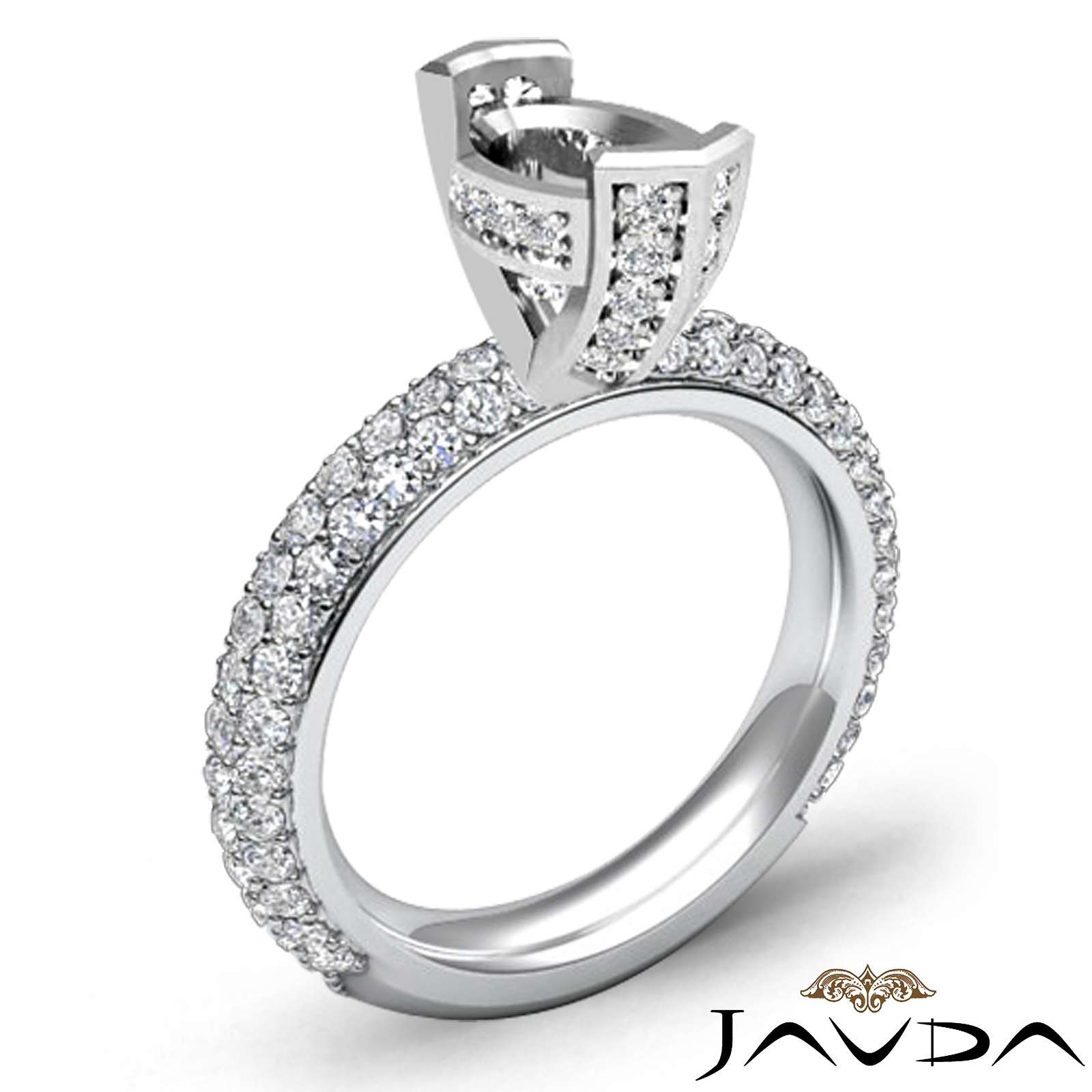 1 40Ct Oval Pave Diamond Engagement Women Ring Setting 14k White Gold Semi Mount