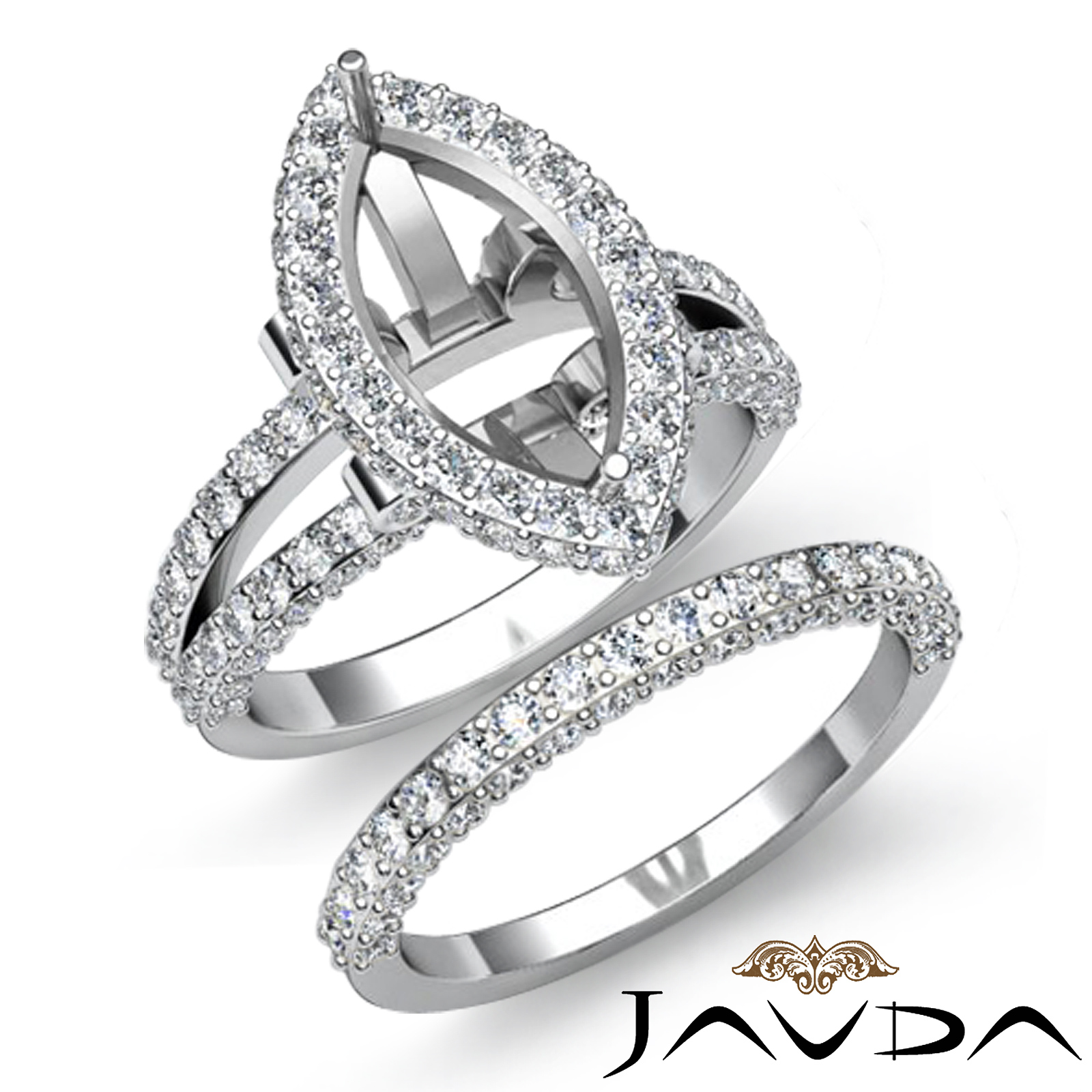 diamond engagement halo ring bridal set platinum 950. Black Bedroom Furniture Sets. Home Design Ideas
