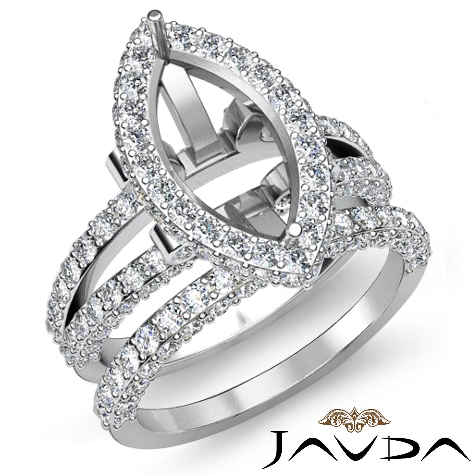 Diamond Engagement Ring Marquise Split Shank Bridal Setting Platinum 950 2 8Ct