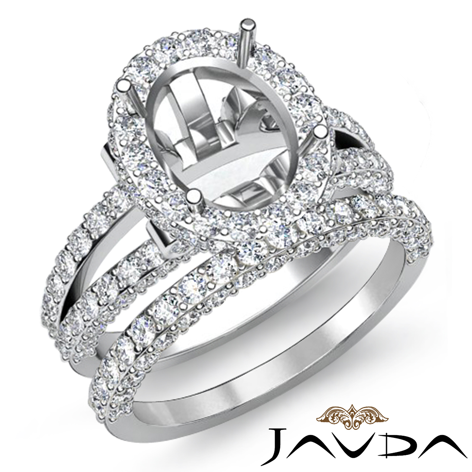 Halo Diamond Engagement Ring Oval Semi Mount Bridal Setting 14K Gold White 2