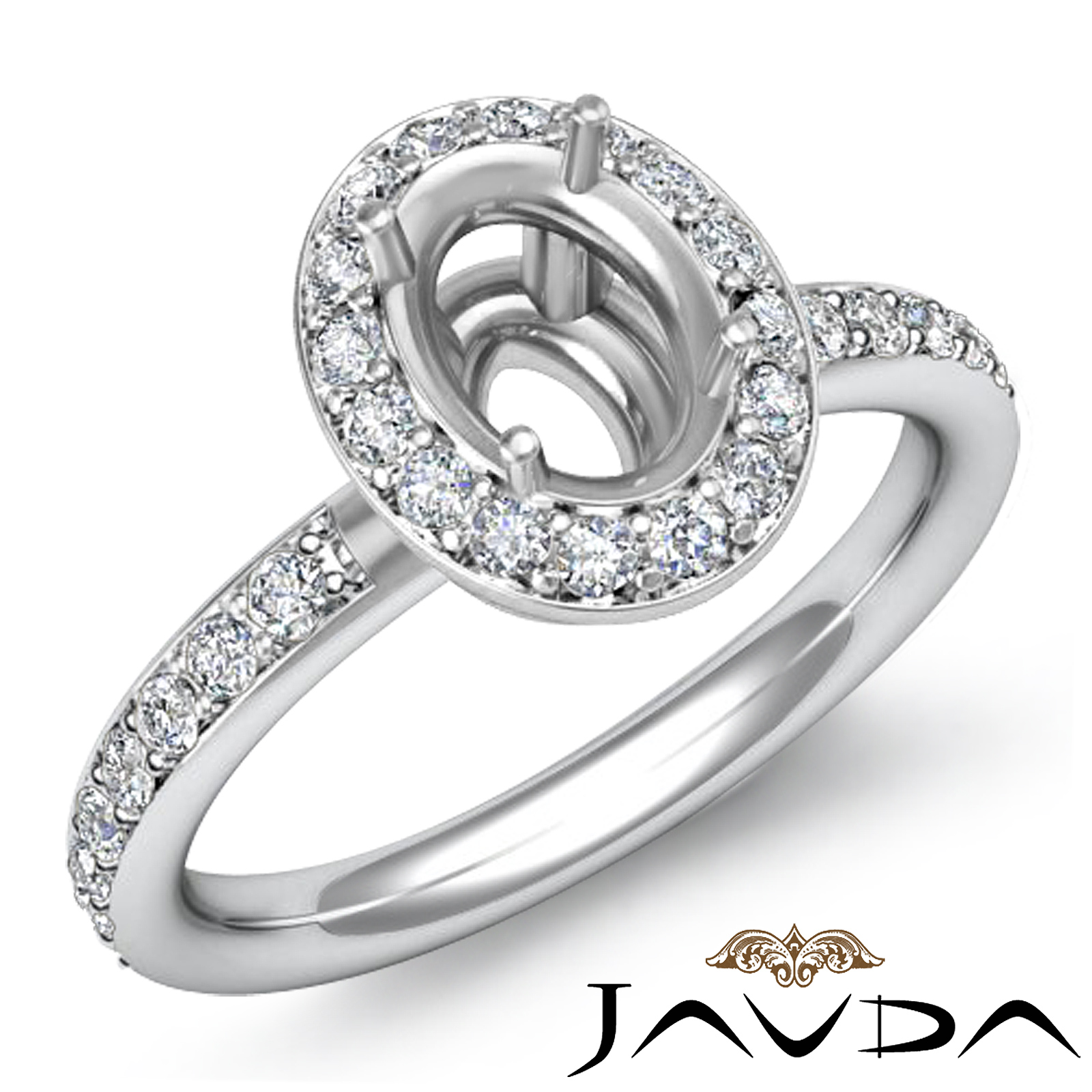 diamond engagement halo pave ring oval shape semi mount 0. Black Bedroom Furniture Sets. Home Design Ideas