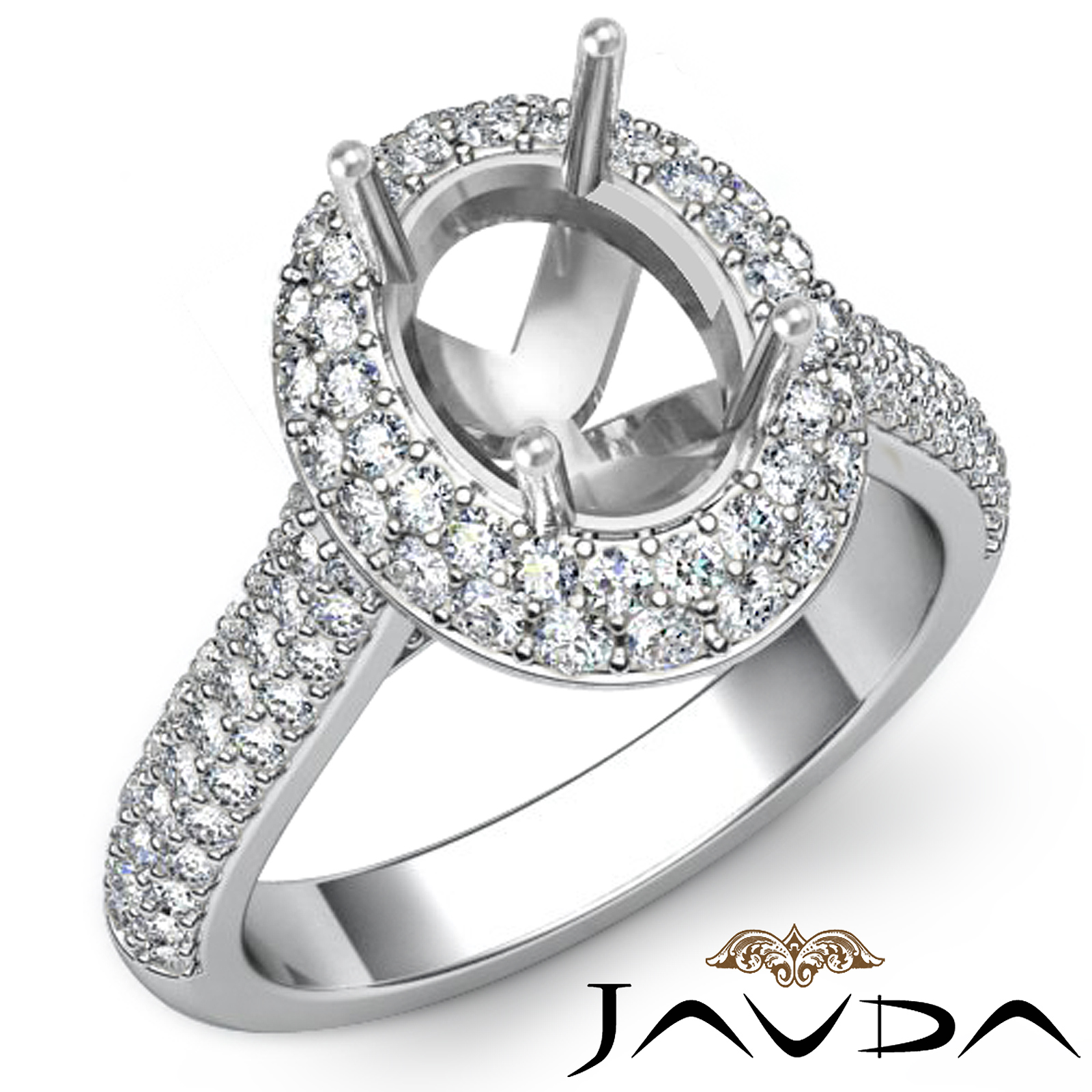Diamond Engagement Ring Halo Pave Setting 18k White Gold Oval Semi Mount 1 5C