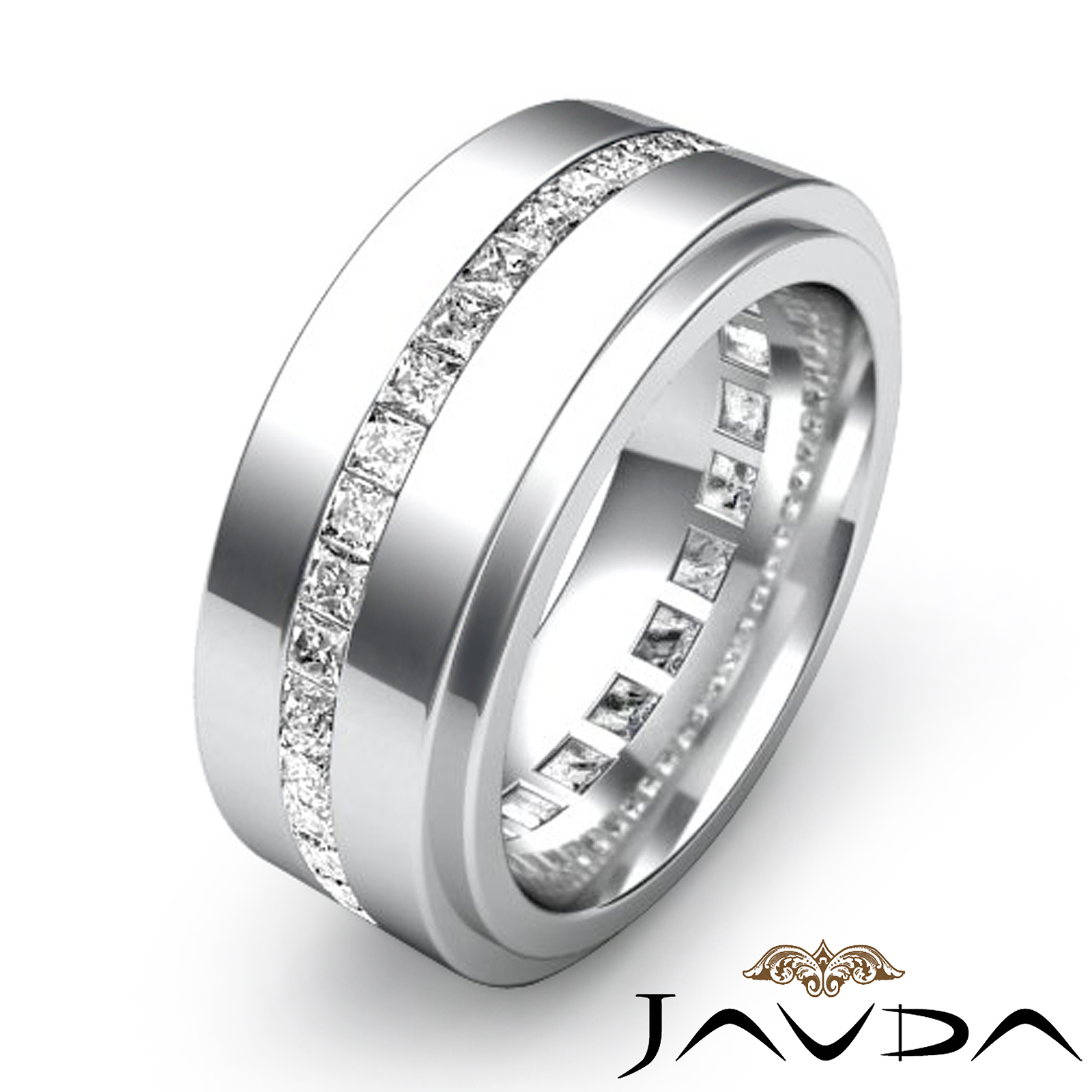 Diamond And Emerald Platinum Eternity Ring