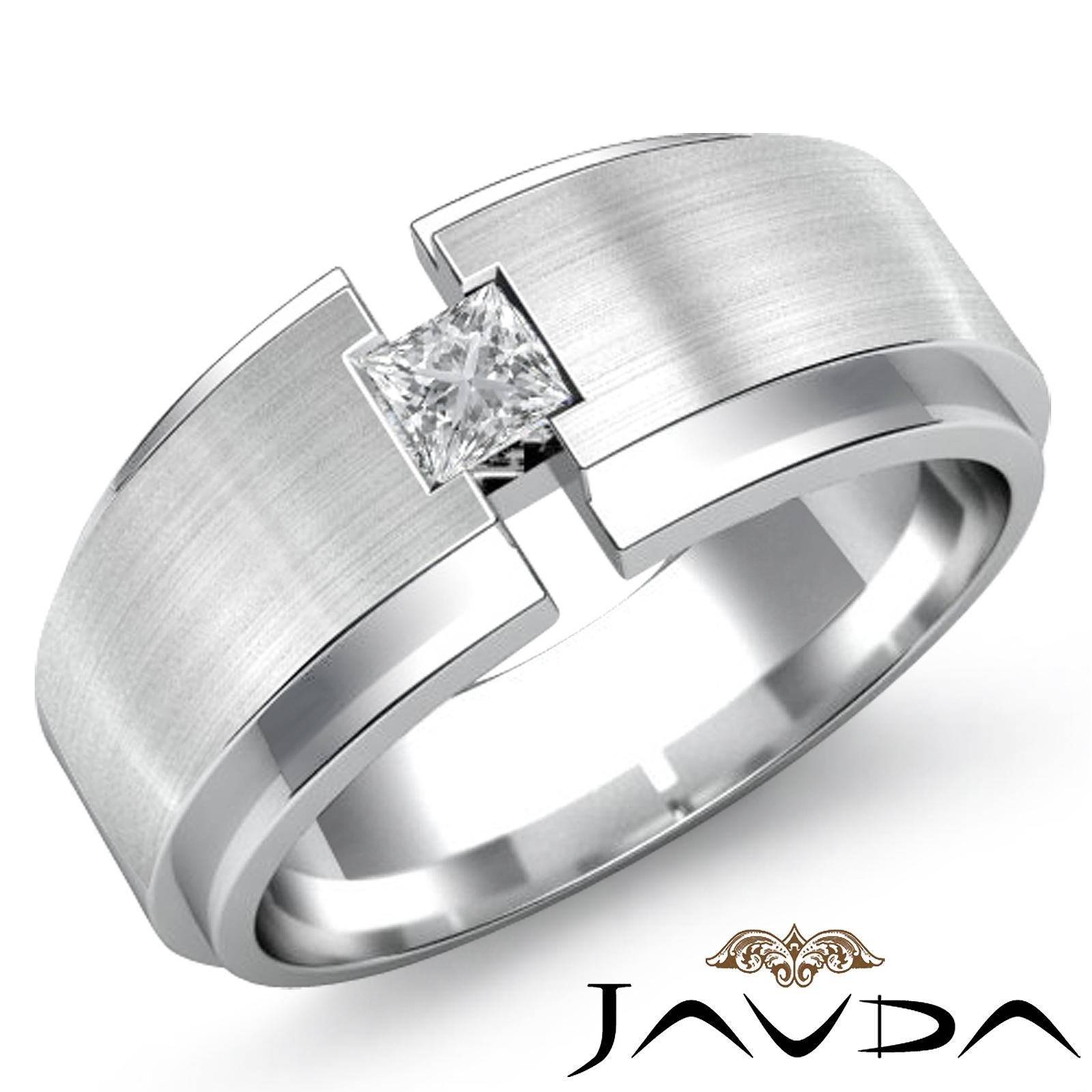 Solitaire Princess Diamond Mens Wedding Band Matt Brushed Ring 14k