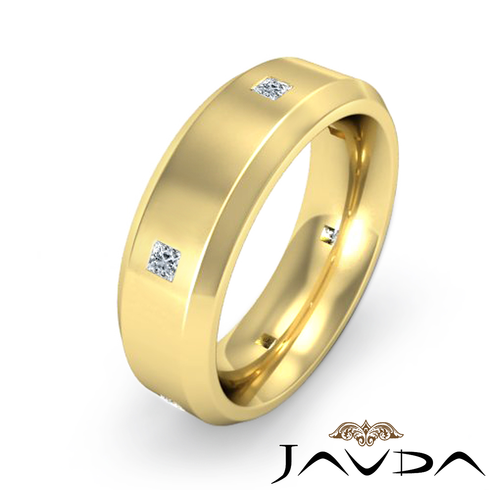 Mens wedding band princess diamond eternity ring 14k for Mens eternity wedding band