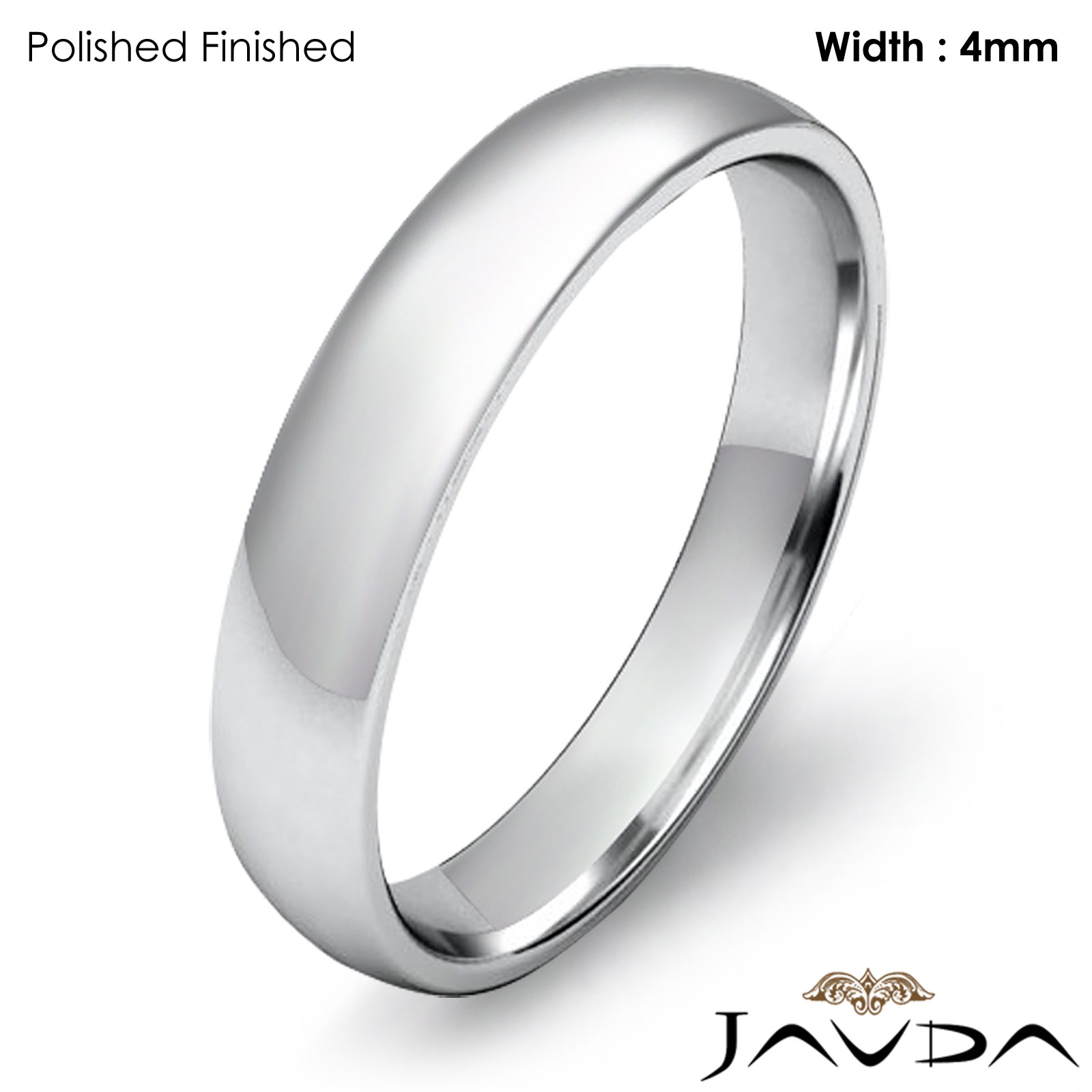 Dome Shaped Bands: 4mm Wedding Ring 14k White Gold Dome Shape Light Comfort
