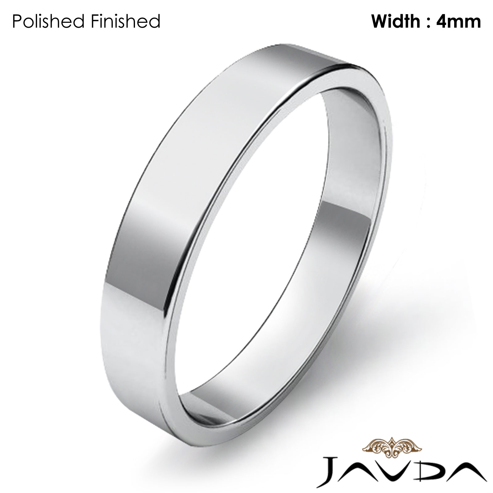 Simple Plain Flat Pipe Cut 4mm Mens Wedding Band 14k White Gold 3 2g 4sz