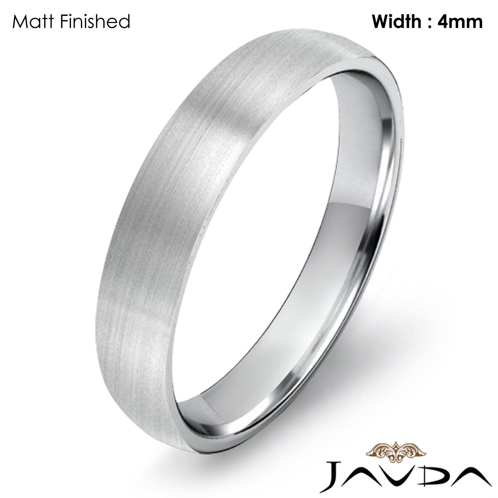 Dome Shaped Bands: 4mm Classic Wedding Ring Platinum Dome Shape Light Comfort
