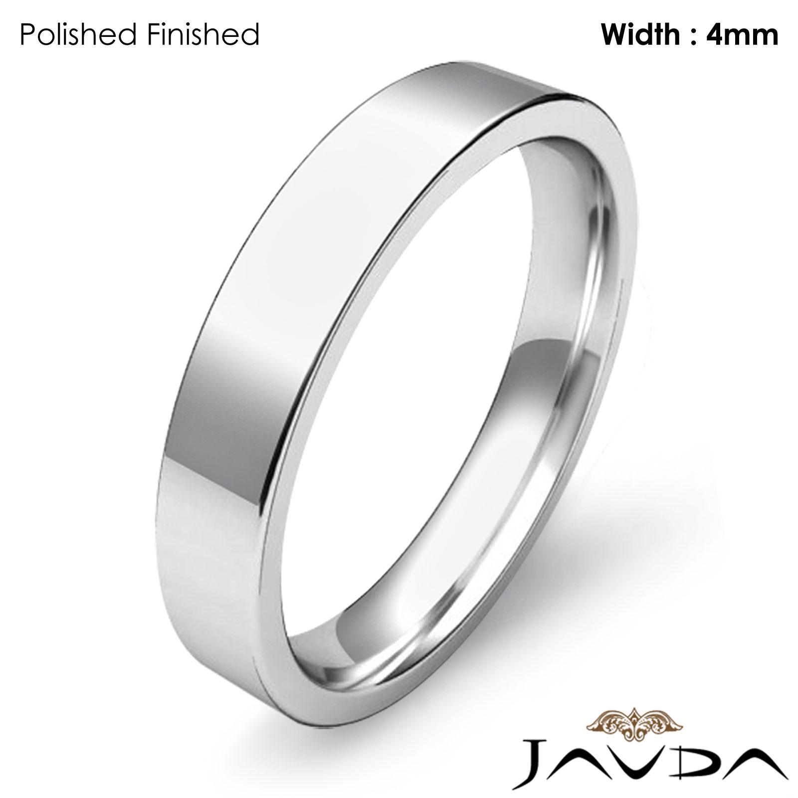 Platinum Flat Pipe Cut fort Fit Band Men Wedding Ring 4mm 9 2gm