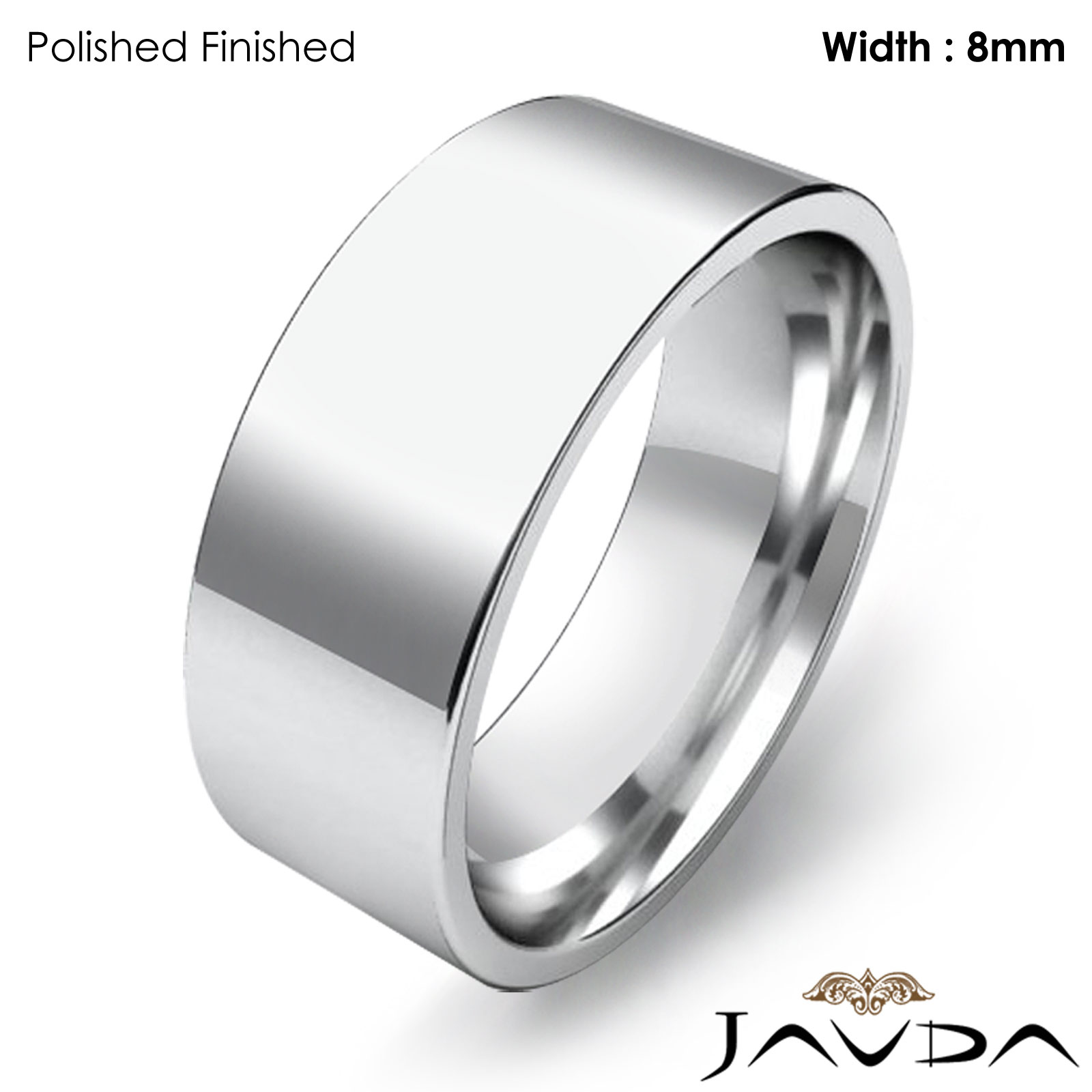 8mm Men Wedding Band Comfort Fit Flat Pipe Cut Ring 14k White Gold