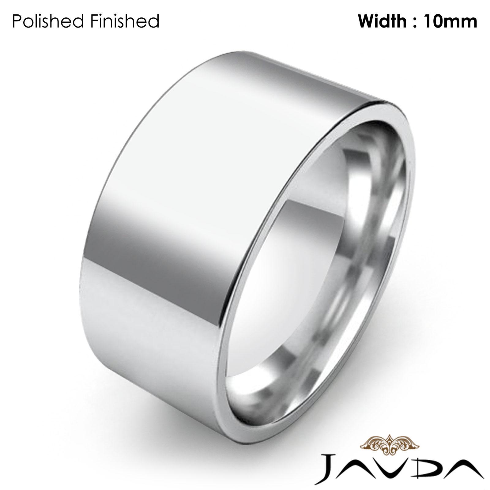 fort Flat Pipe Cut Matte Ring Men Wedding Band 10mm Platinum