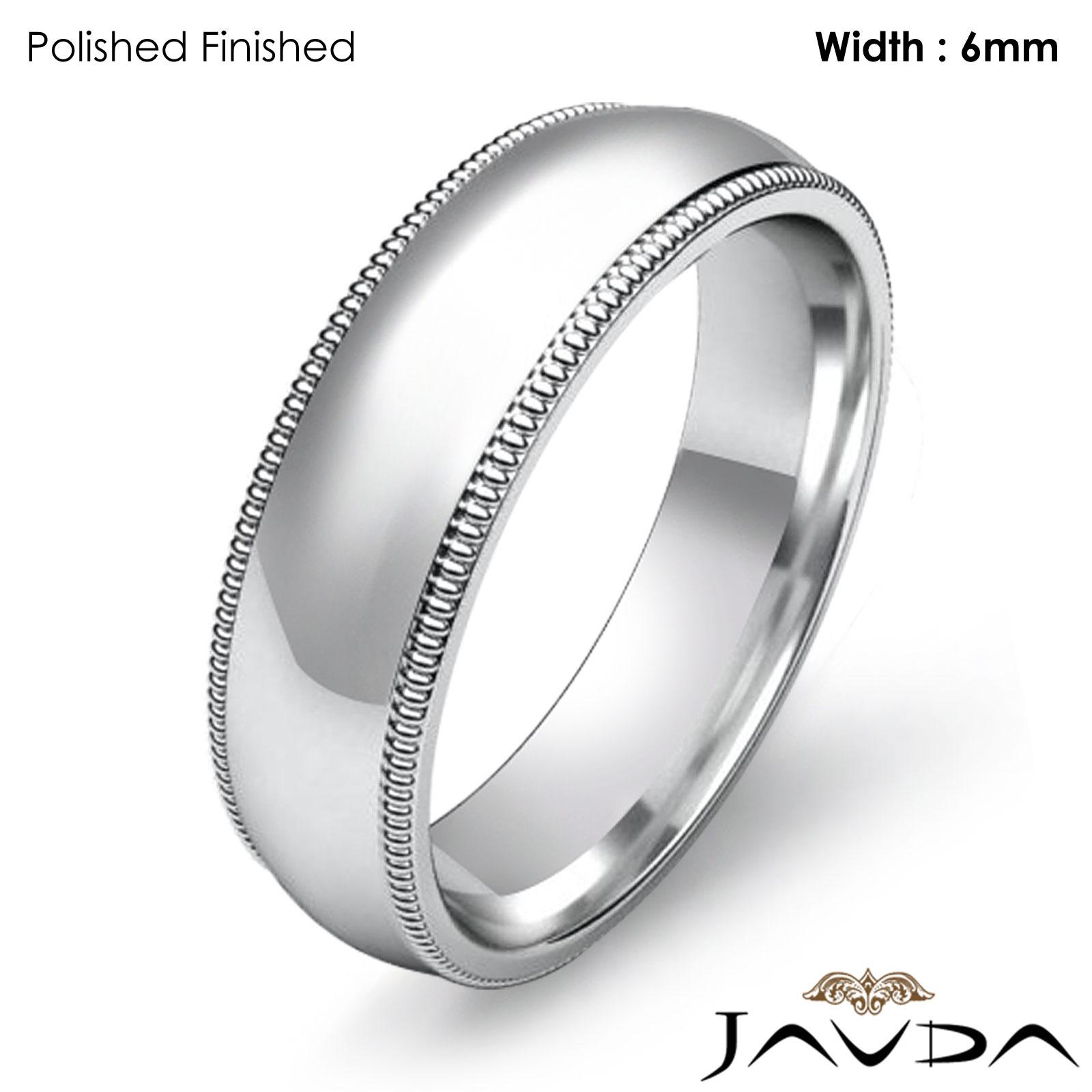 Mens Wedding fort Fit Band Dome Milgrain Edge Ring 6mm Platinum