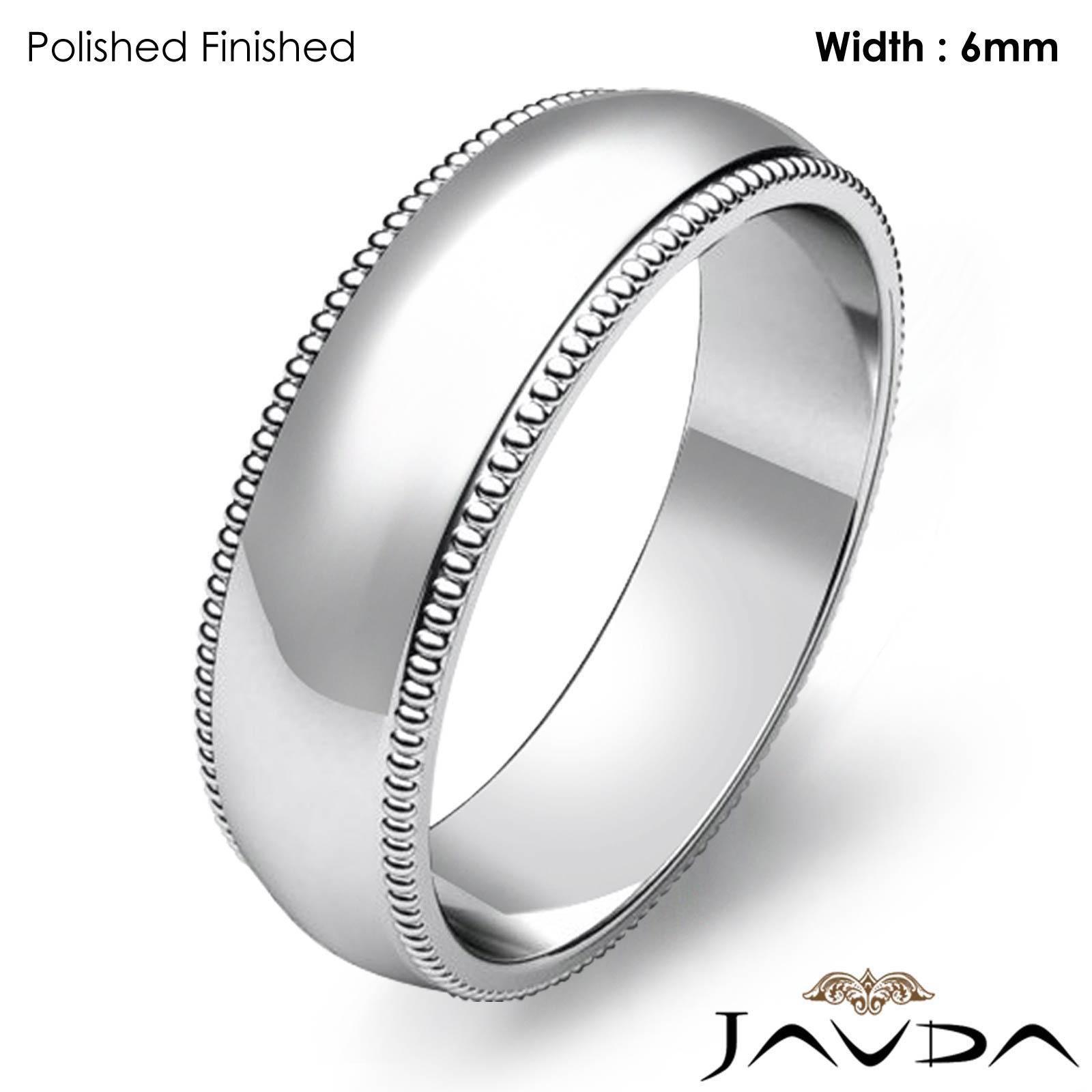Milgrain Men S Wedding Ring In Platinum 6mm: Solid Men Wedding Band Dome Milgrain Edge Classic Ring 6mm