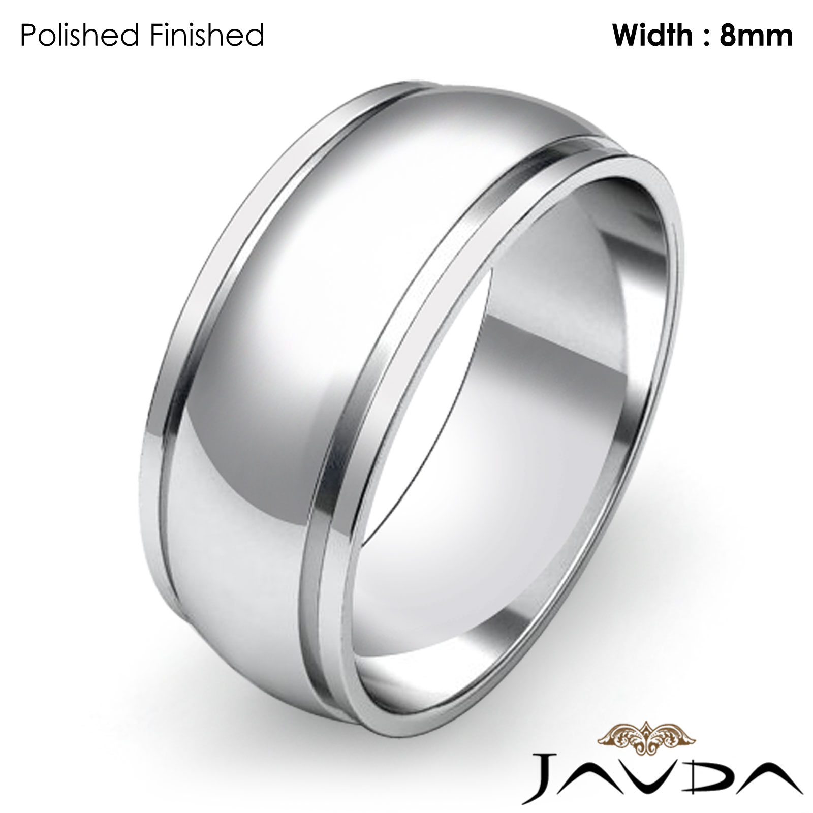 Wedding Band Women Plain Solid Dome Step Ring 8mm 14k White Gold 64gm Sz 6 675