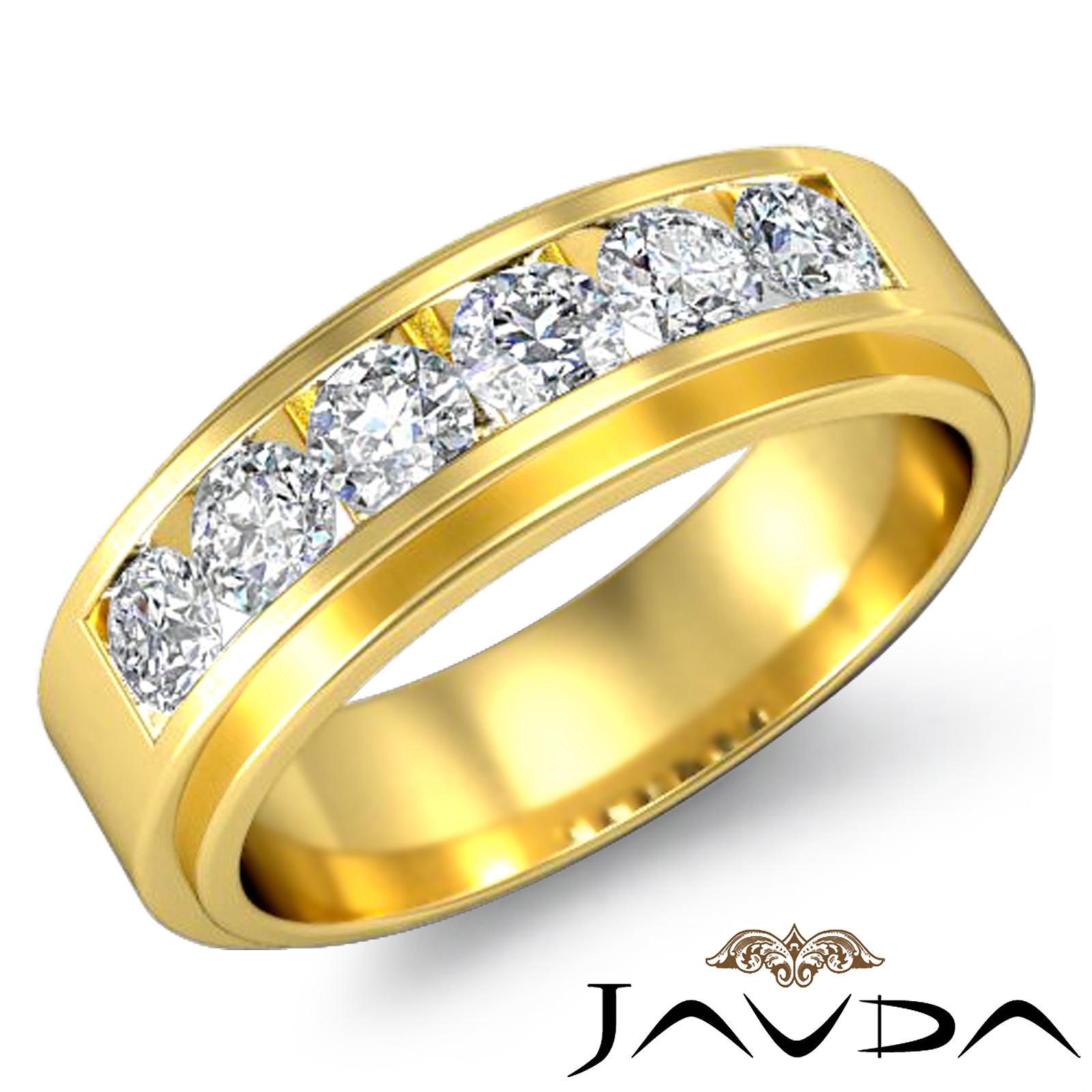 channel set diamond mens lustrous wedding band 18k yellow. Black Bedroom Furniture Sets. Home Design Ideas