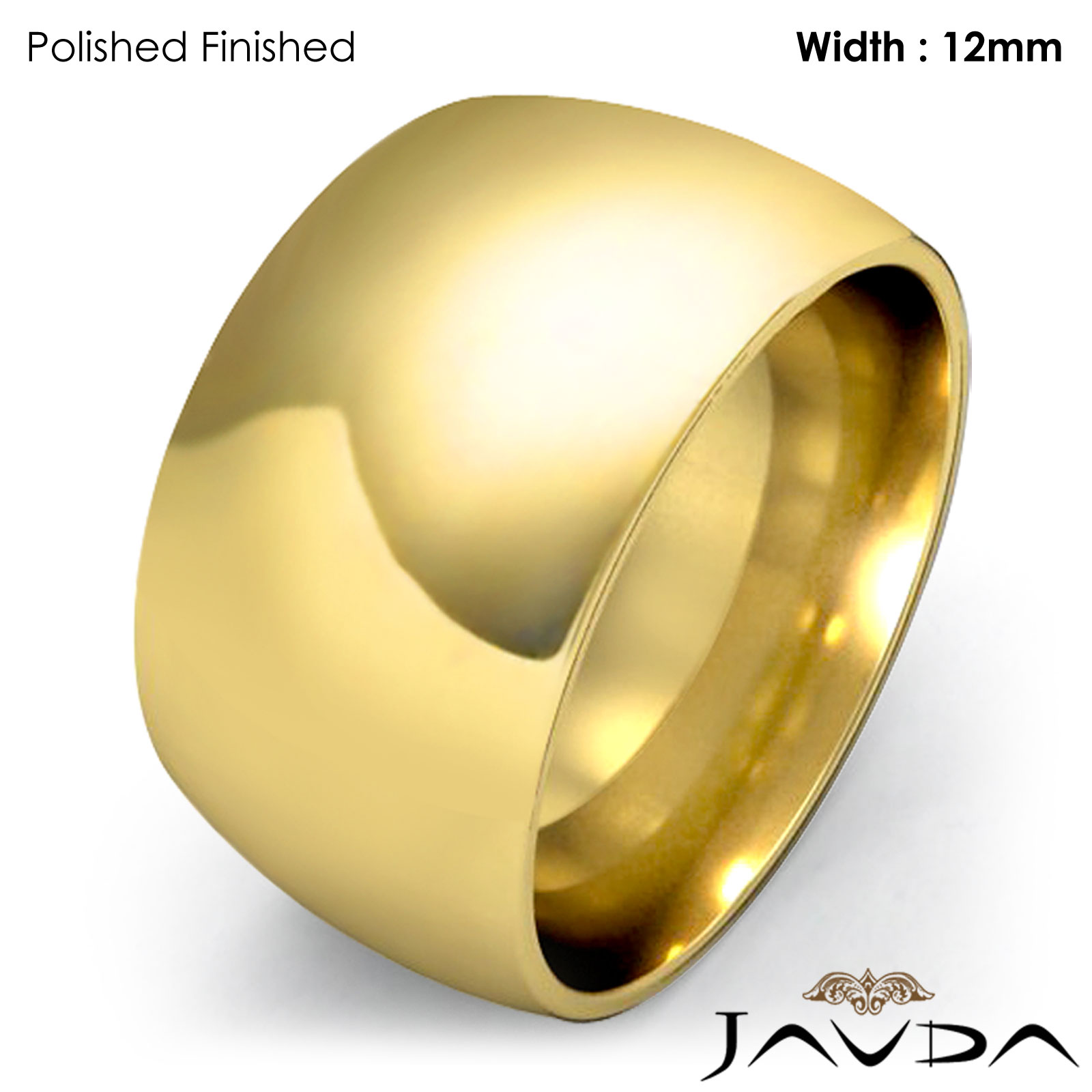 Wider Women 18k Gold Plain Dome Wedding Band Ring 12mm Solid 17 2