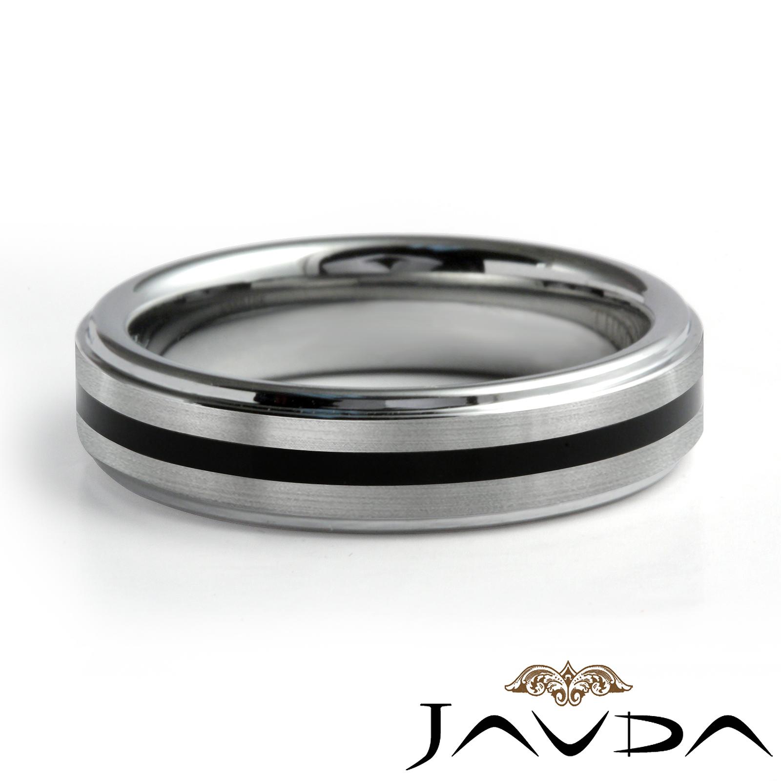 Women Tungsten Carbide Wedding Band Ring Rubber Inlaid SIze 6