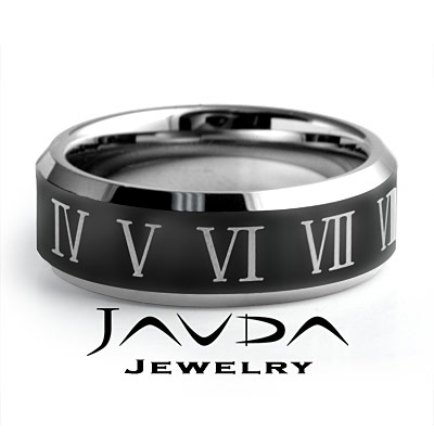 Mens Tungsten Carbide Wedding Bands on Men Tungsten Carbide Wedding Band Centre Black Enamel Comfort Fit 8m