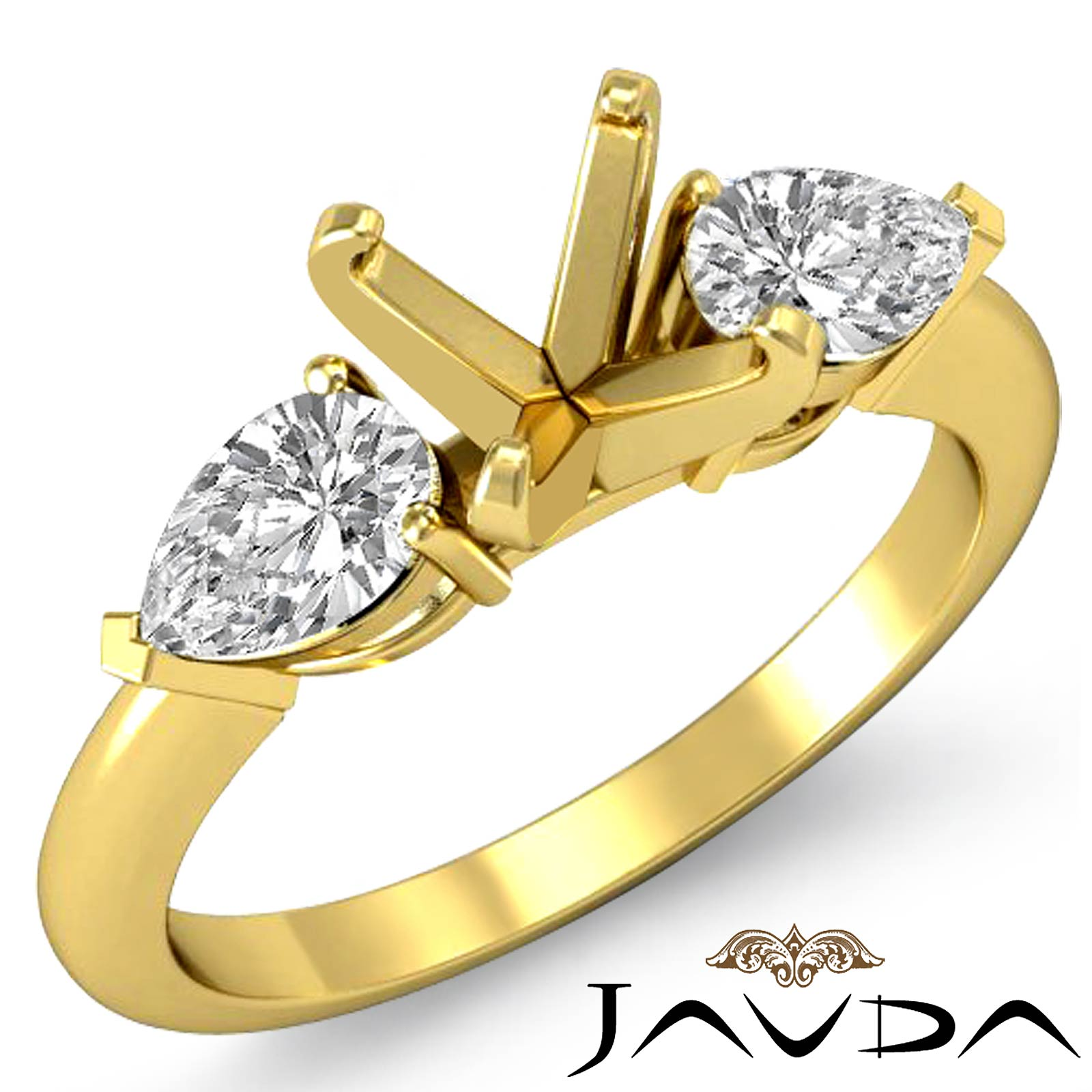 Pear Diamond Three Stone Engagement Setting Ring 14k Yellow Gold Round SemiMo