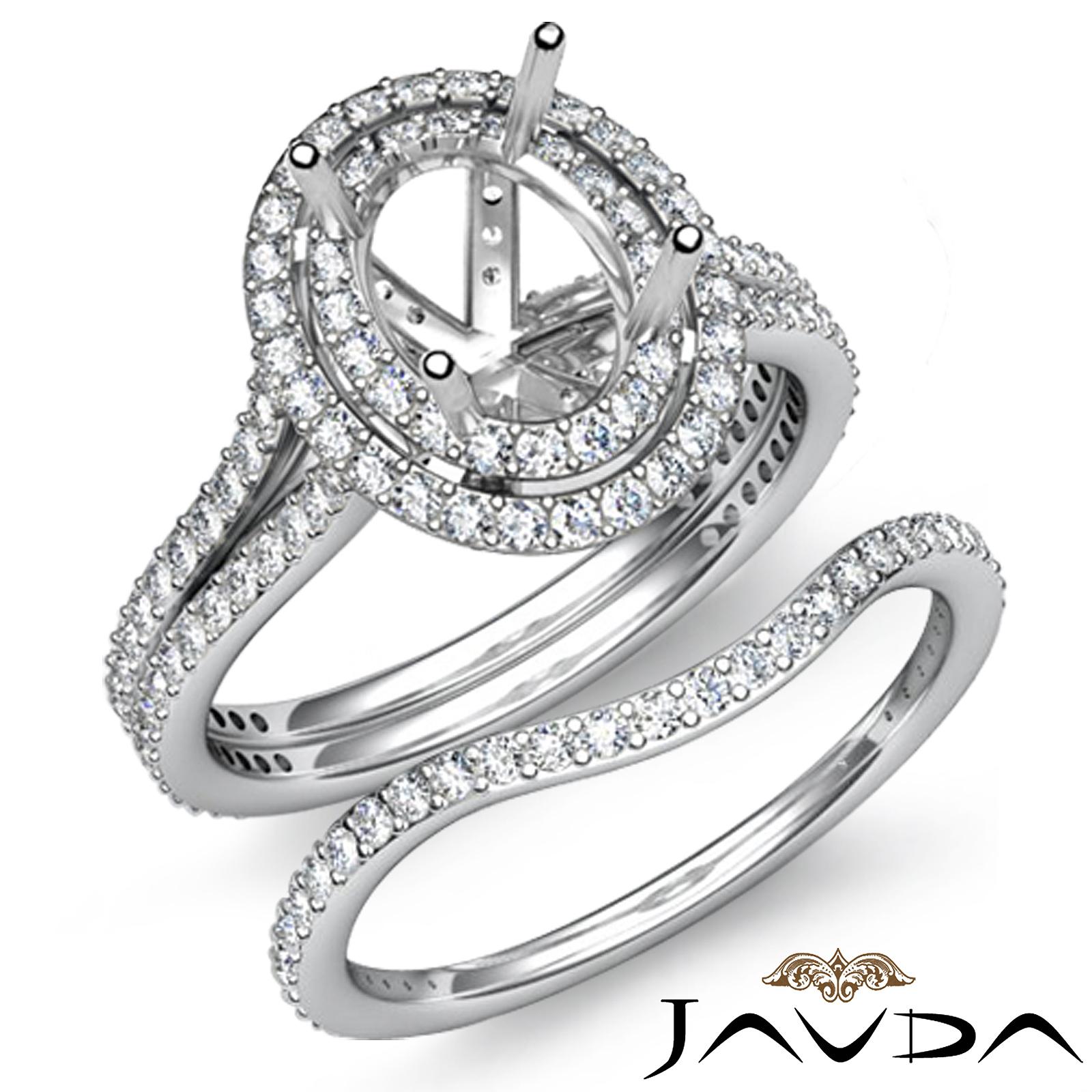 Diamond Engagement Ring Oval Split Shank Bridal Set Platinum 950 Semimount 2