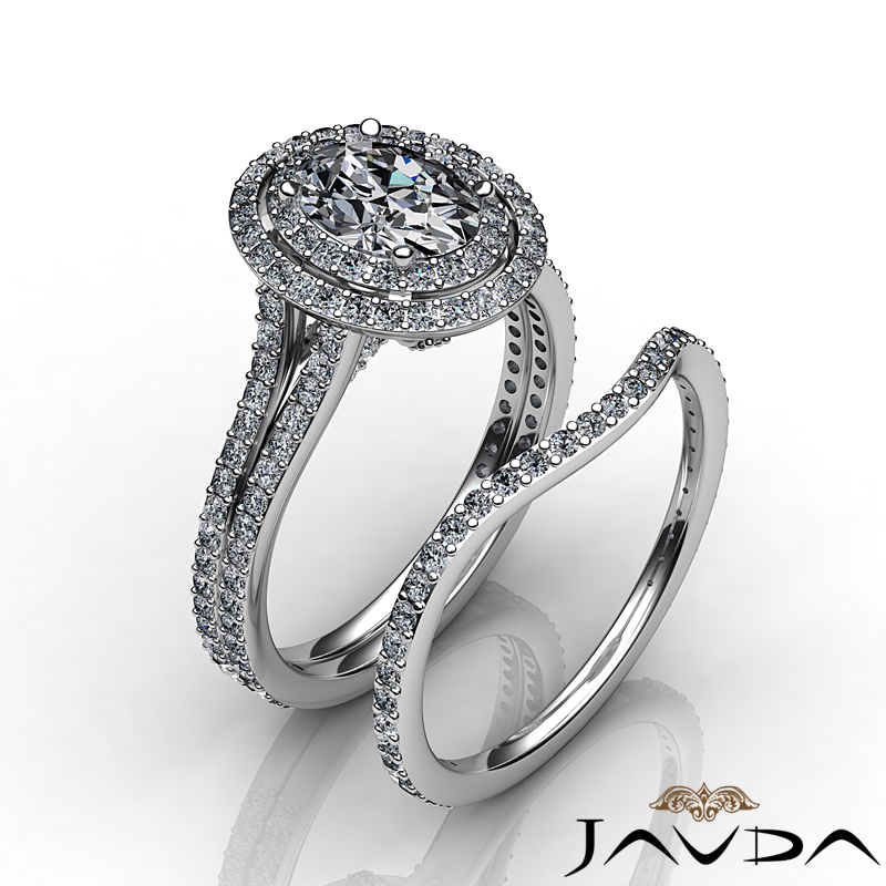 Split Shank Halo Oval Diamond Engagement Ring Bridal Set GIA G SI1 Platinum 3 ct