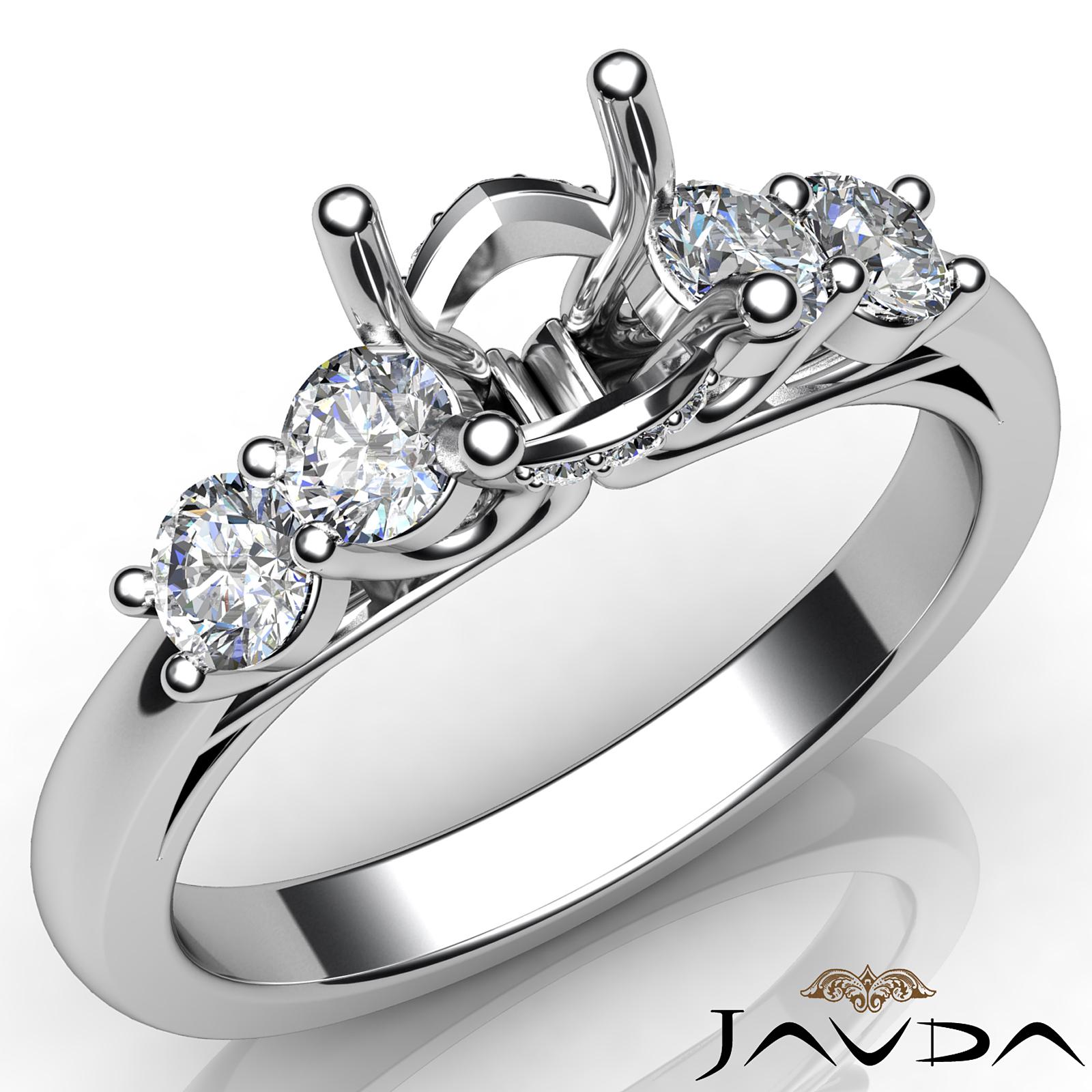5 Stone Prong Setting Diamond Engagement Round Semi Mount
