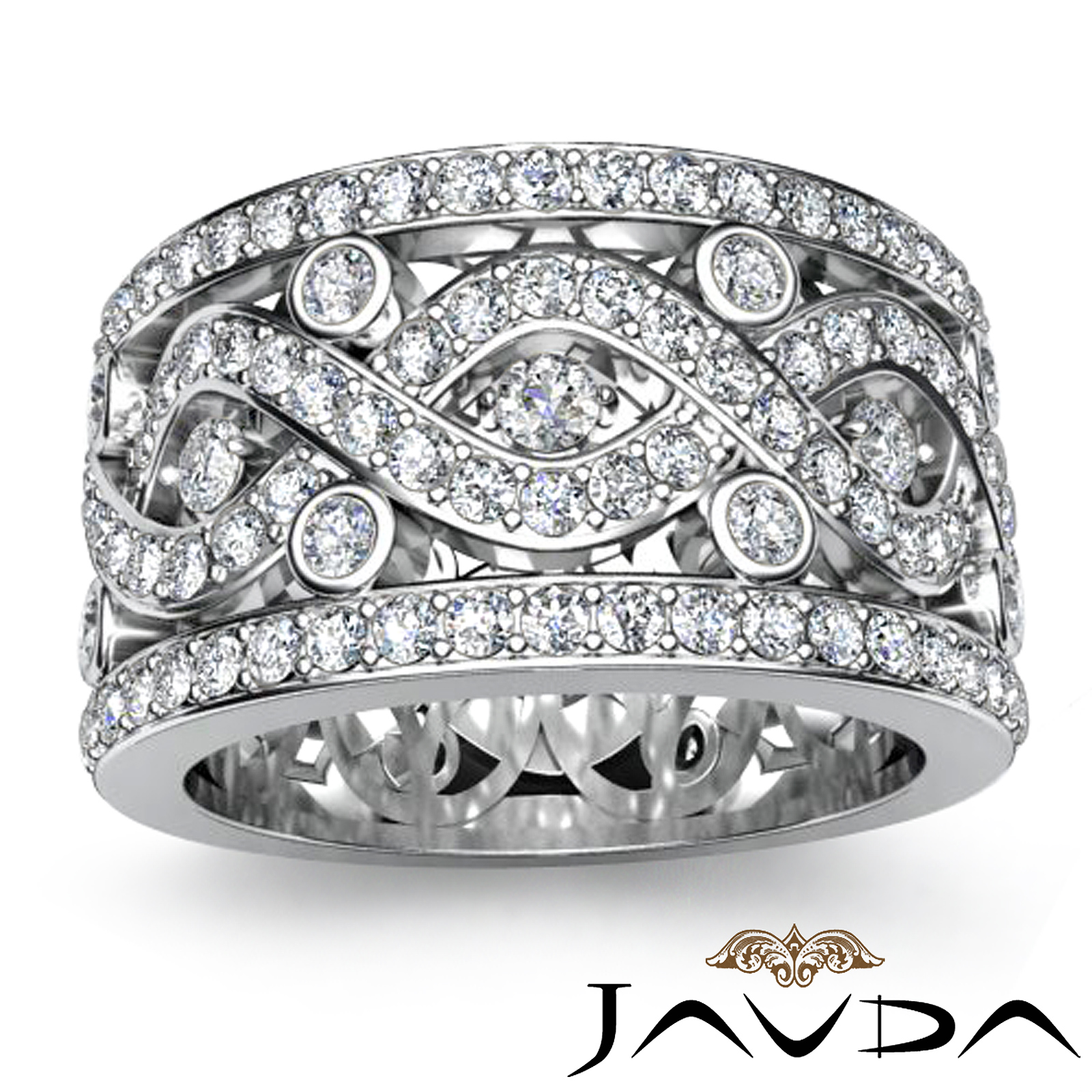 Twist Pave Round Diamond Band Womens Eternity Anniversary
