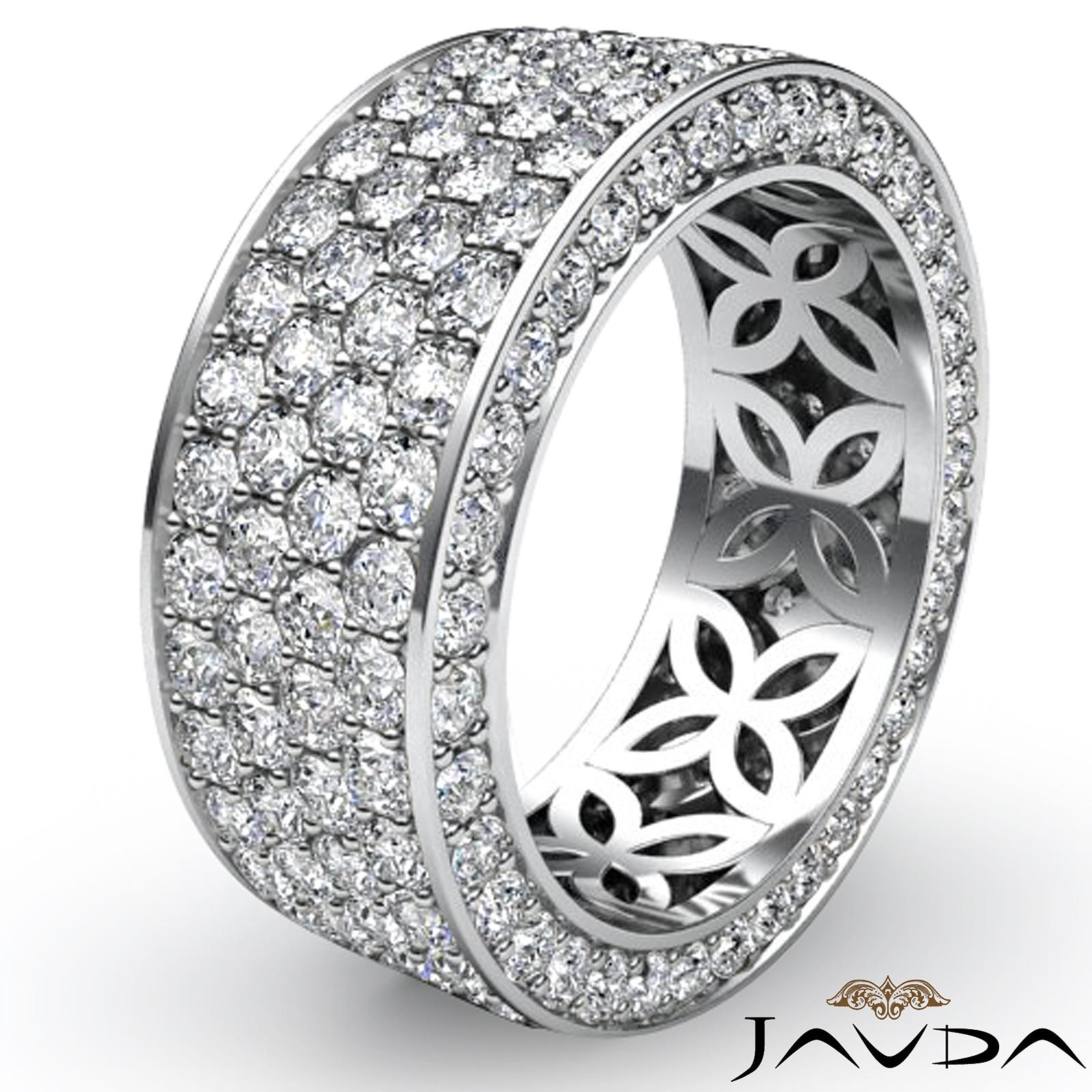 4 Row Pave Eternity Round Pave Diamond Ring Womens Wedding Band