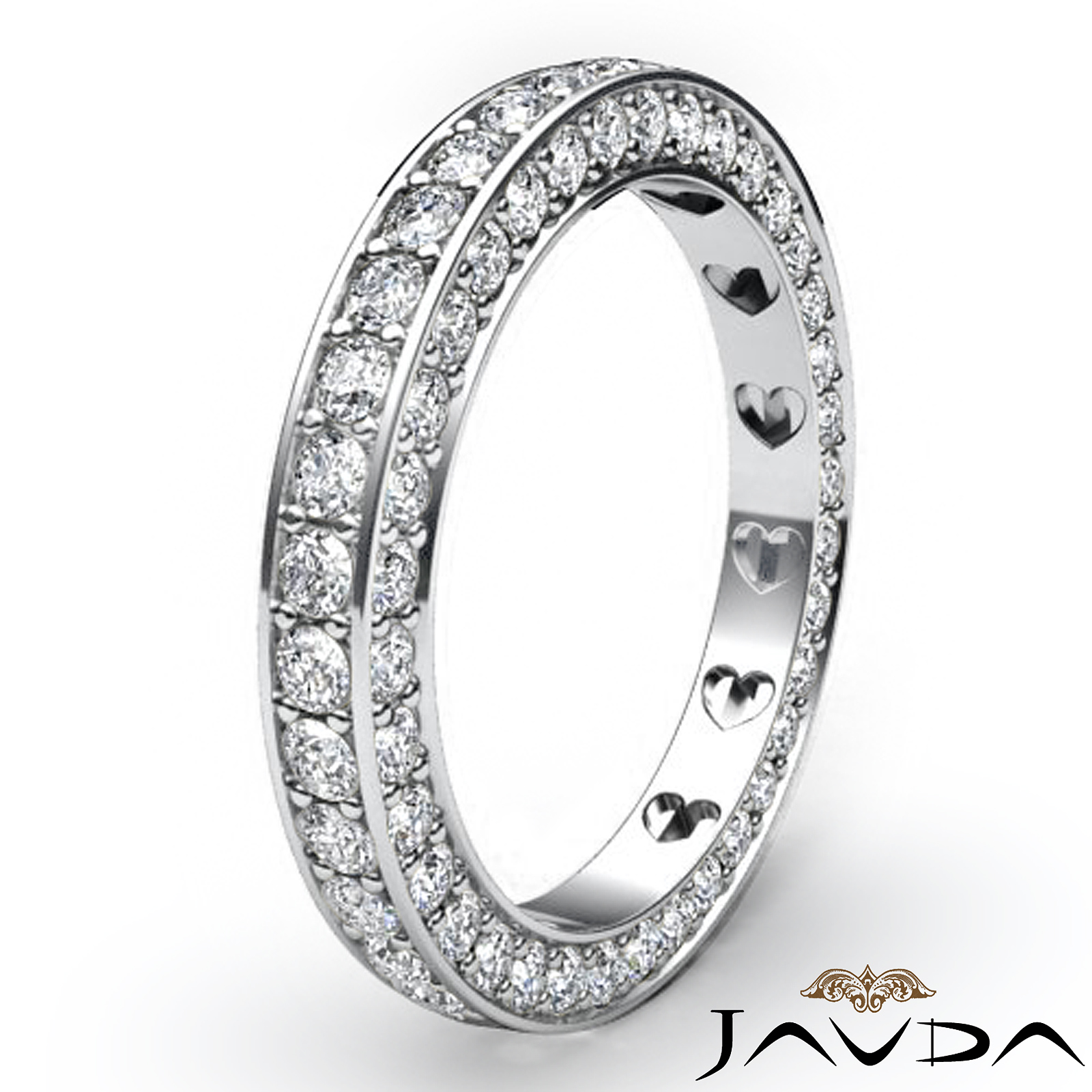 Womens Pave Set Diamond Eternity Anniversary Ring Platinum