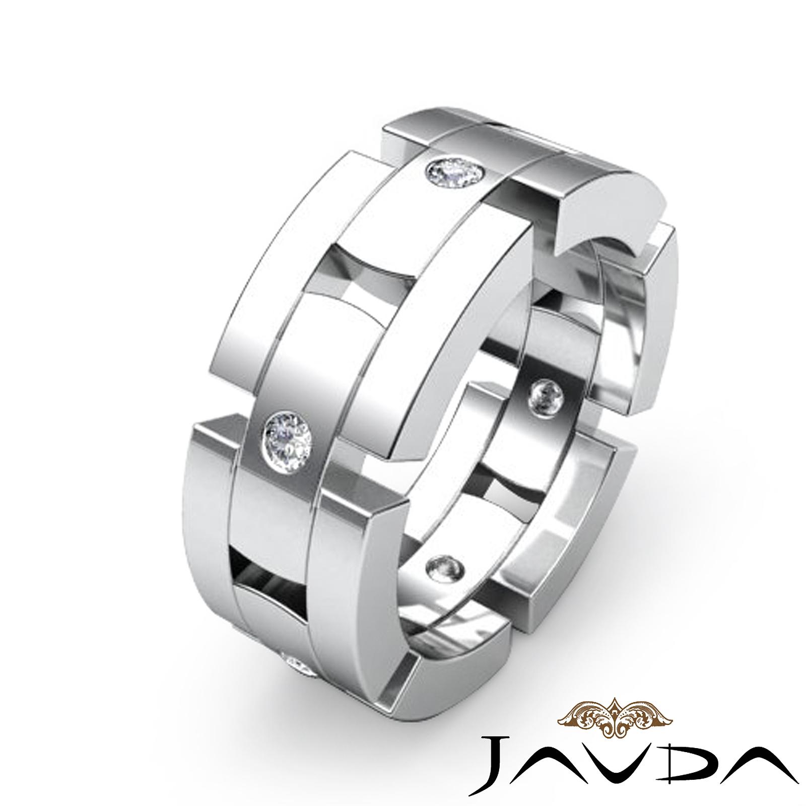 mens block link eternity wedding band round diamond ring platinum. Black Bedroom Furniture Sets. Home Design Ideas