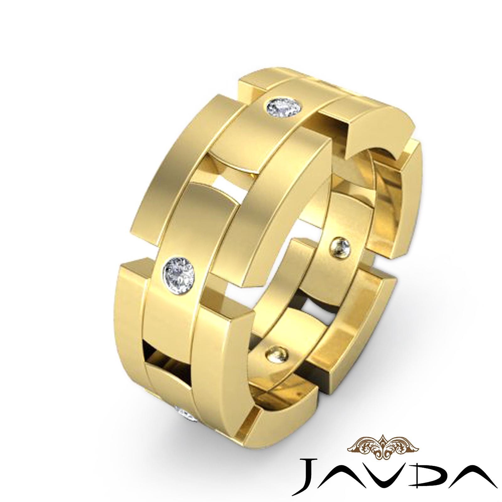 mens block link eternity wedding band round diamond ring 14k yellow gold 0 35ct ebay. Black Bedroom Furniture Sets. Home Design Ideas