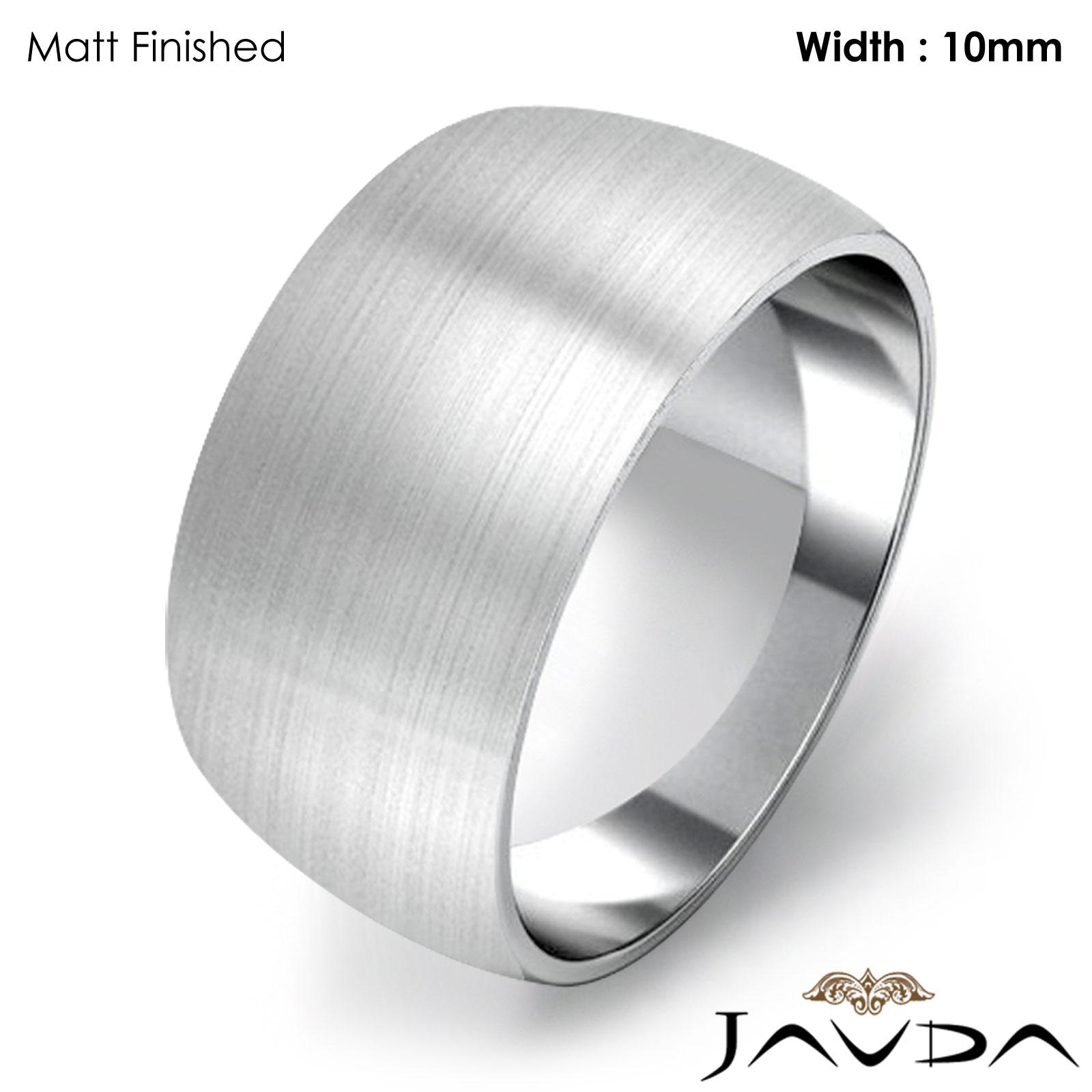 Women Plain Dome Polish Wedding Band 10mm 14k White Gold Ring 89gm Size 7 775