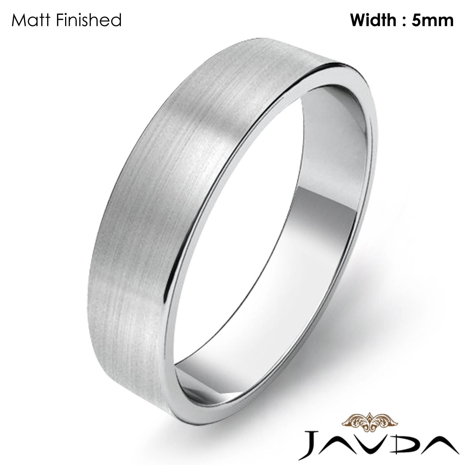 Wedding Band Flat Pipe Cut Ring 5mm Women Plain Platinum 950 6 3gm