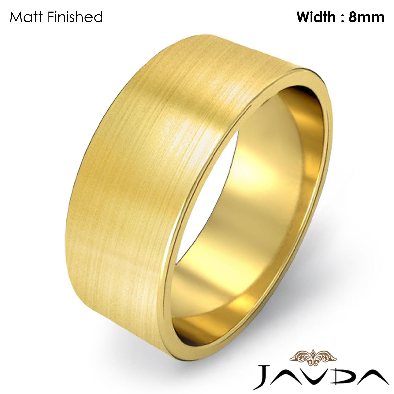 Men Wedding Band Flat Pipe Cut Plain Matte Ring 8mm 14k Yellow Gold 82gm 9 975