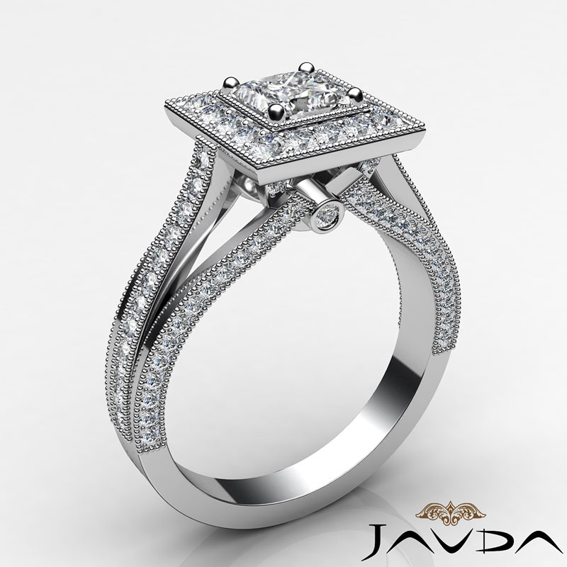 Princess Cut Halo Pave Set Diamond Engagement Ring GIA D VS2 Platinum 950 1 4