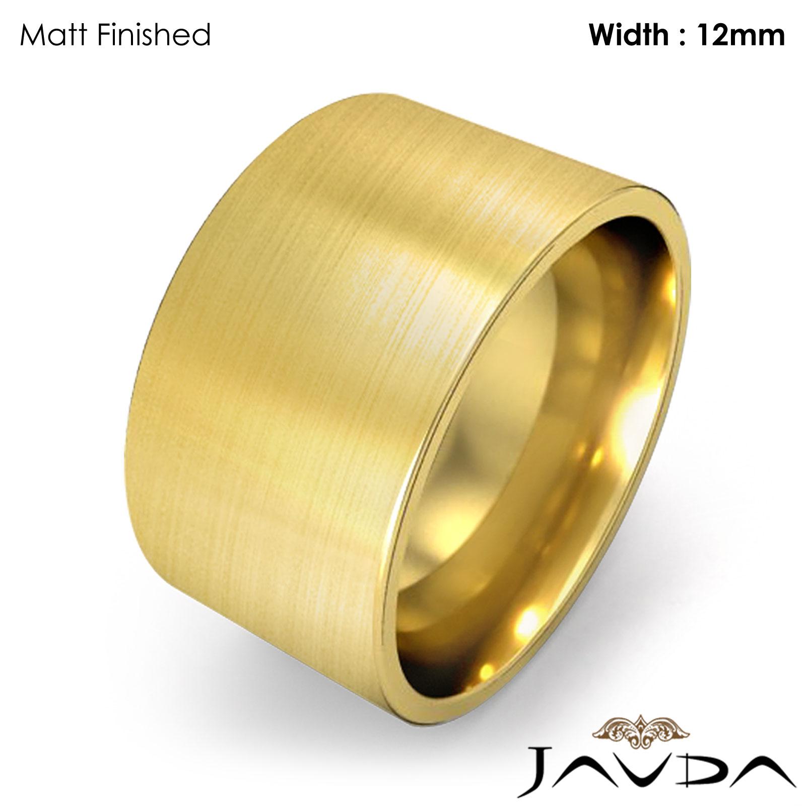 Men Wedding Band Comfort Pipe Cut High Polish Ring 12mm