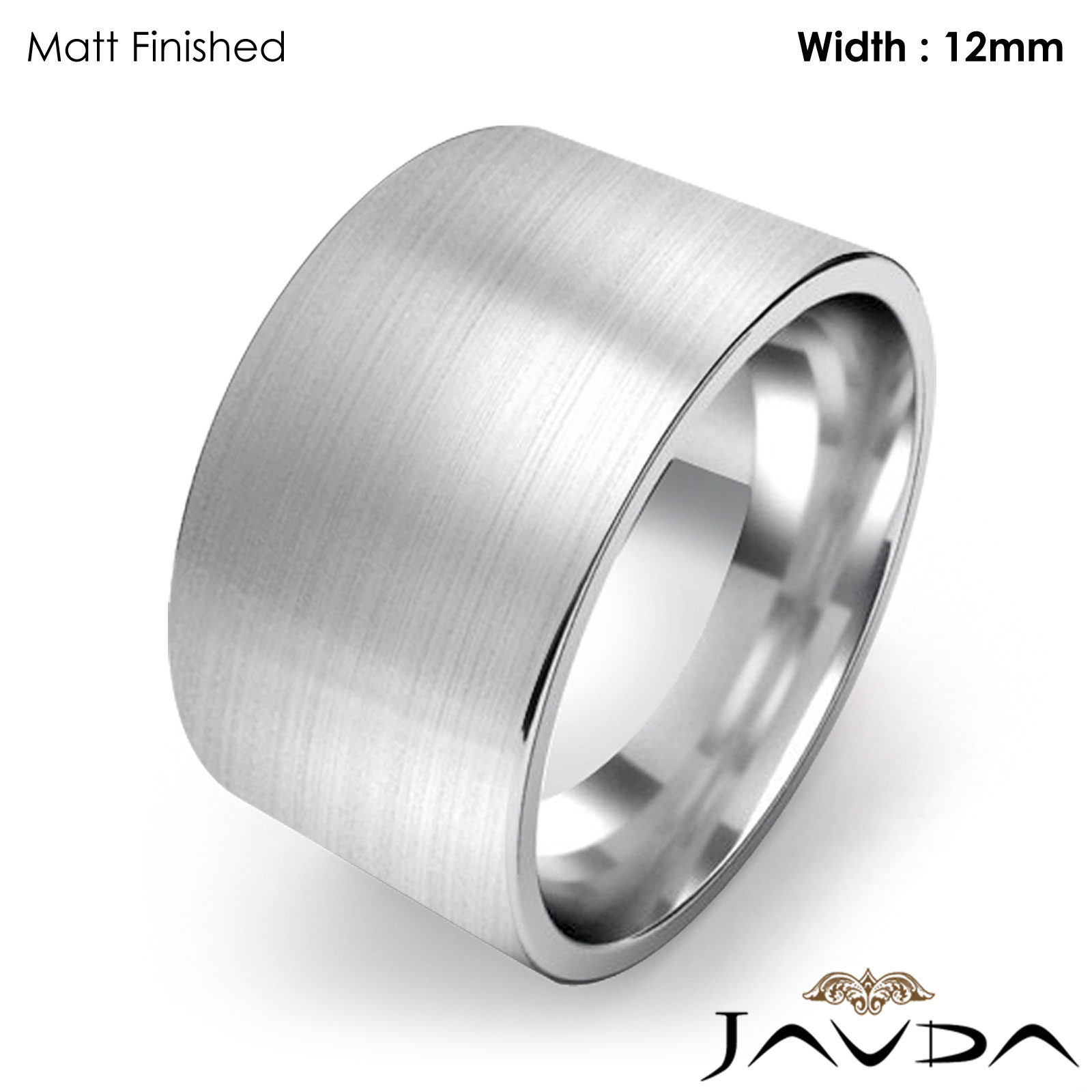 Men Wedding Band fort Flat Pipe Cut Matte Ring 12mm Platinum