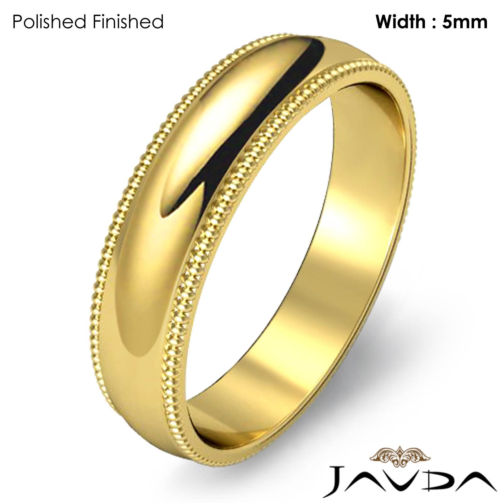 Men's Wedding Band 18k Gold Yellow Dome Milgrain Edge Solid Ring 5mm 5 ...